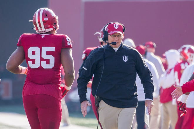 Indiana Hoosiers head coach Tom Allen walks the sideline in the second half against the Purdue Boilermakers at Memorial Stadium.
