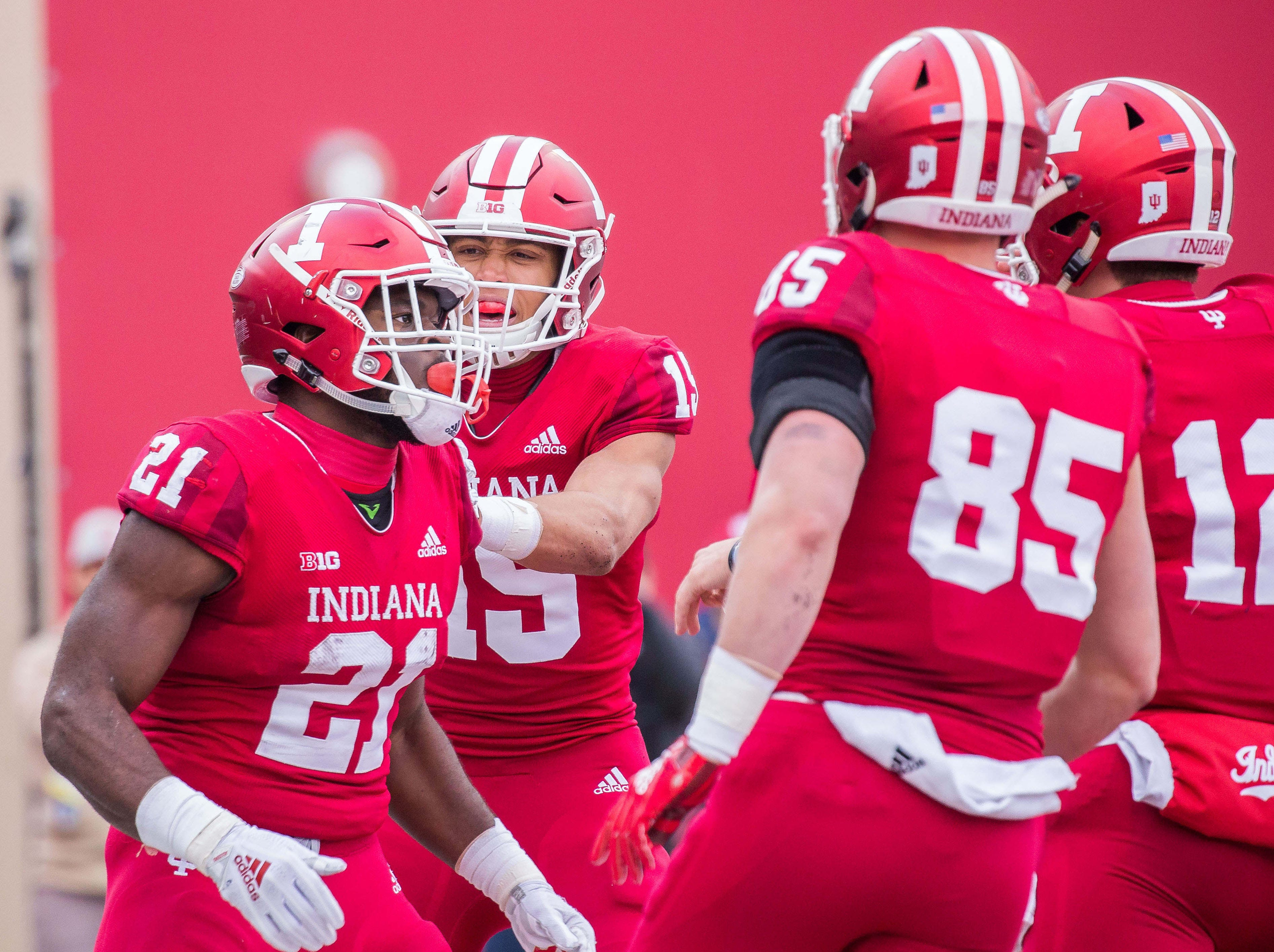 Indiana Hoosiers running back Stevie Scott (21) celebrates with teammates after scoring a touchdown in the second quarter against the Purdue Boilermakers at Memorial Stadium.