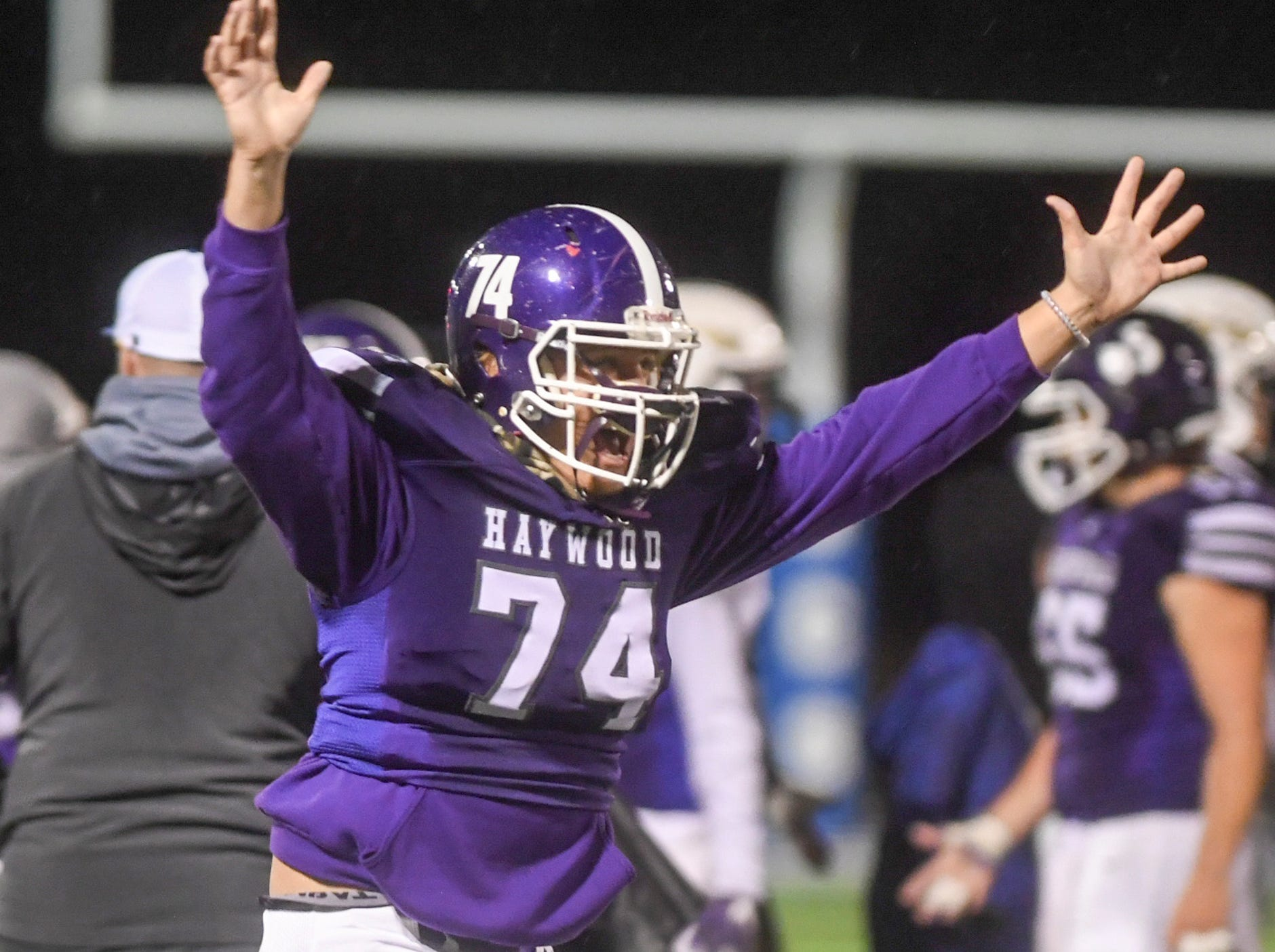 Haywood's Jackson Robinson celebrates victory after Haywood defeated Springfield, 49-14, during their Class 4A semifinal game, Friday, November 23.
