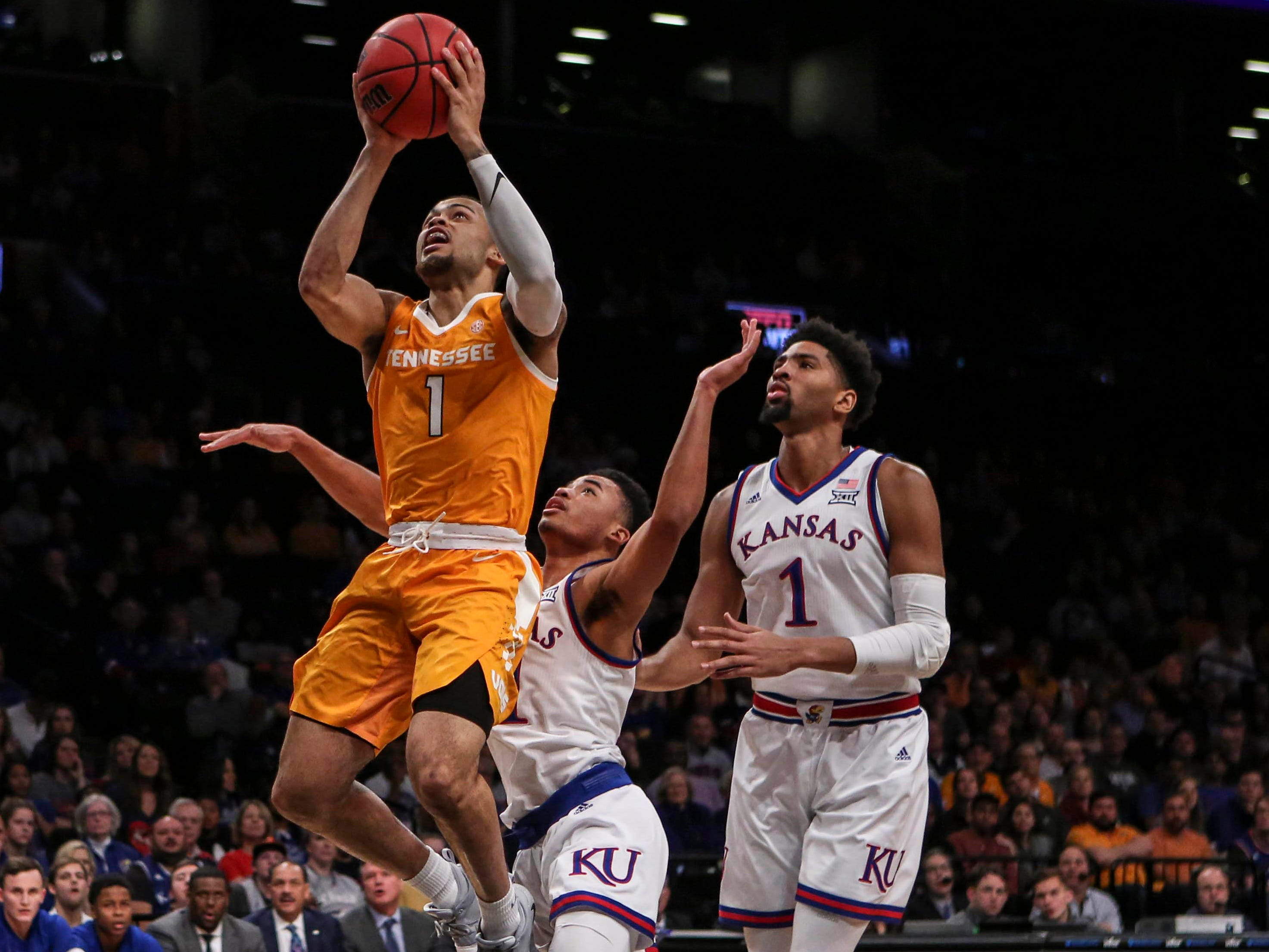 Nov 23, 2018; Brooklyn, NY, USA; Tennessee Volunteers guard Lamonte Turner (1) puts up a shot in the first half of the championship game of the NIT Season Tipoff against the Kansas Jayhawks at Barclays Center. Mandatory Credit: Wendell Cruz-USA TODAY Sports