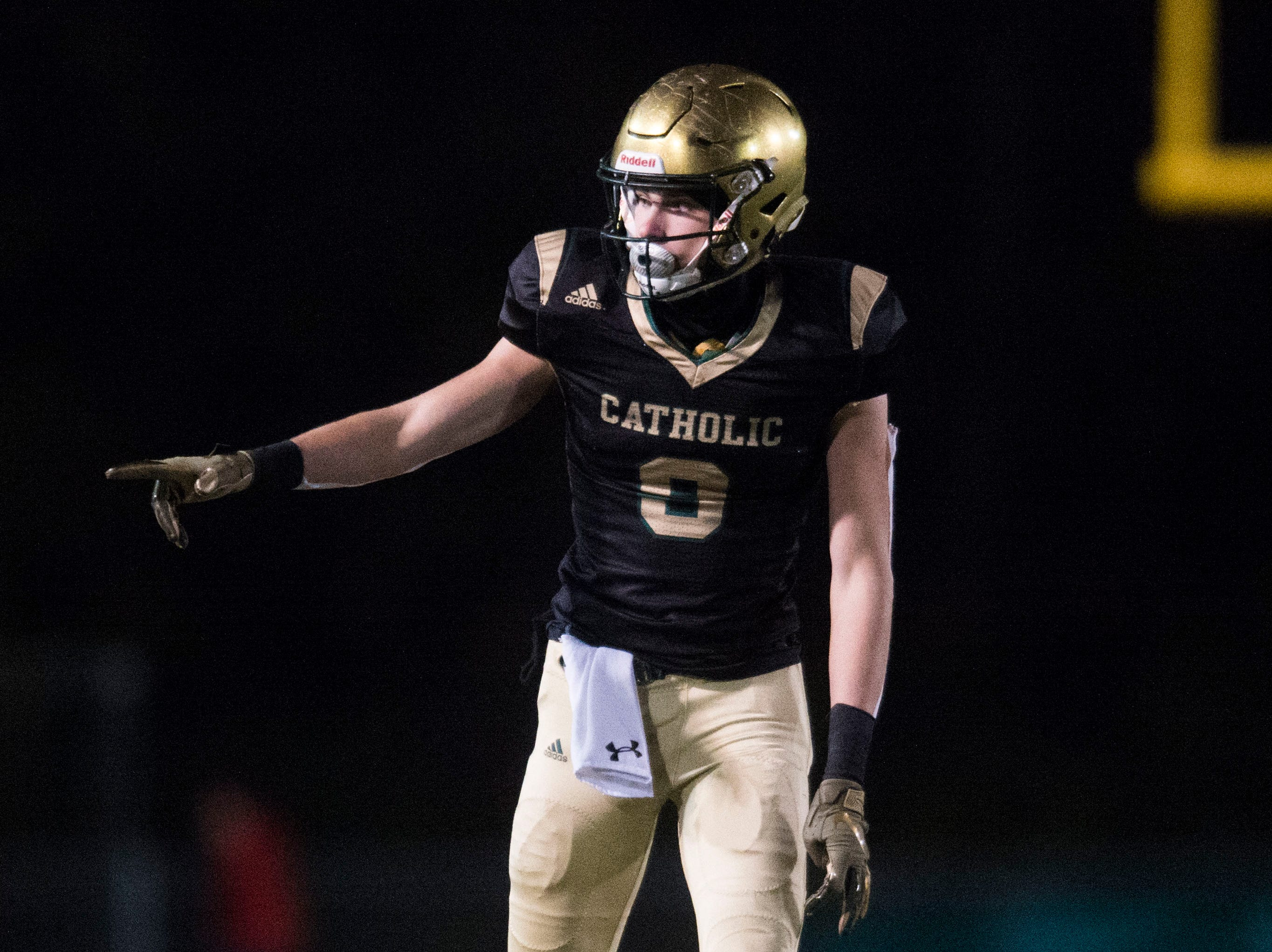 Catholic's Adam Jones (9) points to an official during a Class 5A semifinal game between Central at Catholic Friday, Nov. 23, 2018. Central defeated Catholic 24-19.