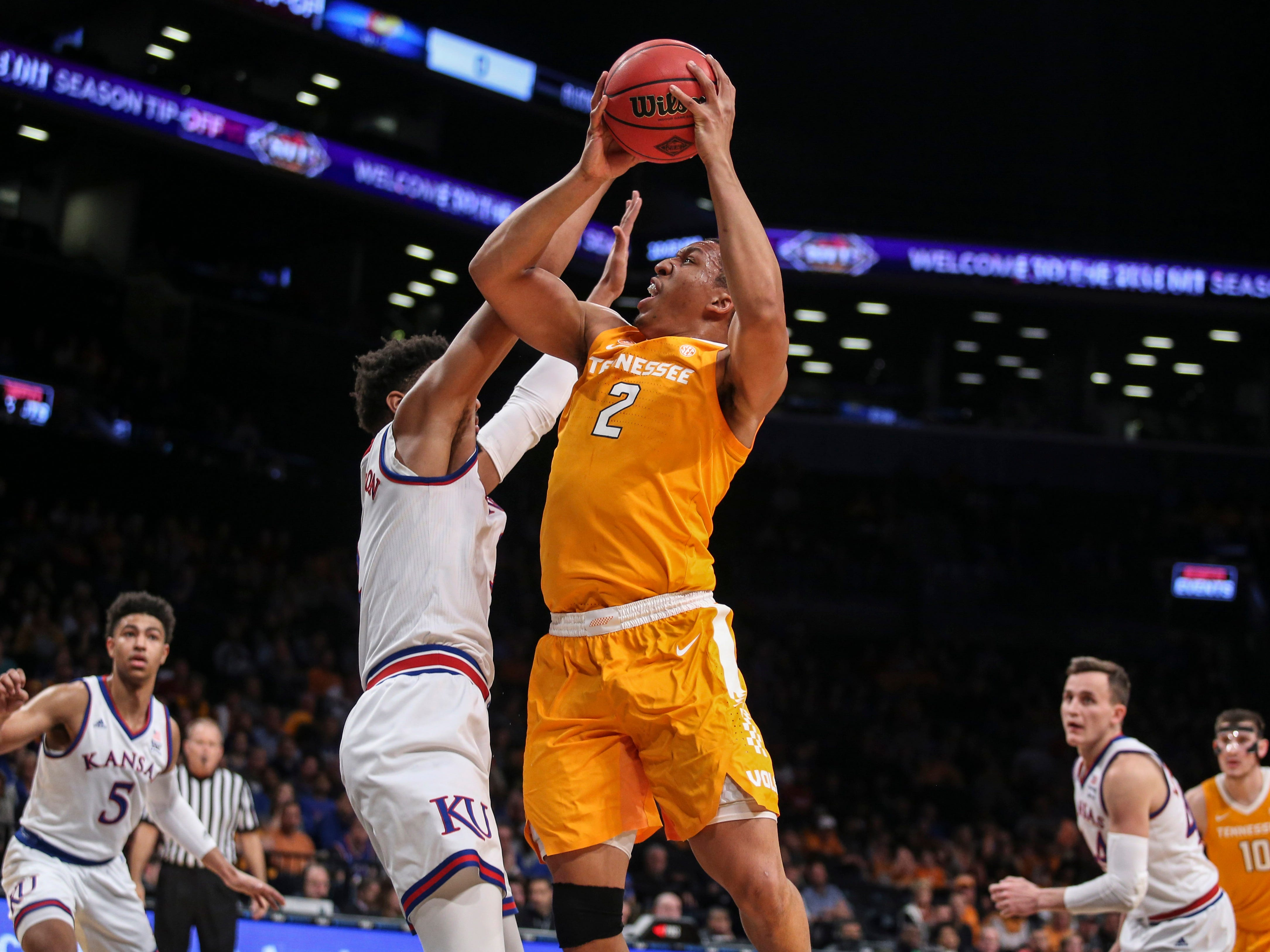 Nov 23, 2018; Brooklyn, NY, USA; Tennessee Volunteers forward Grant Williams (2) puts up a shot in the first half against the Kansas Jayhawks in the championship game of the NIT Season Tipoff at Barclays Center. Mandatory Credit: Wendell Cruz-USA TODAY Sports
