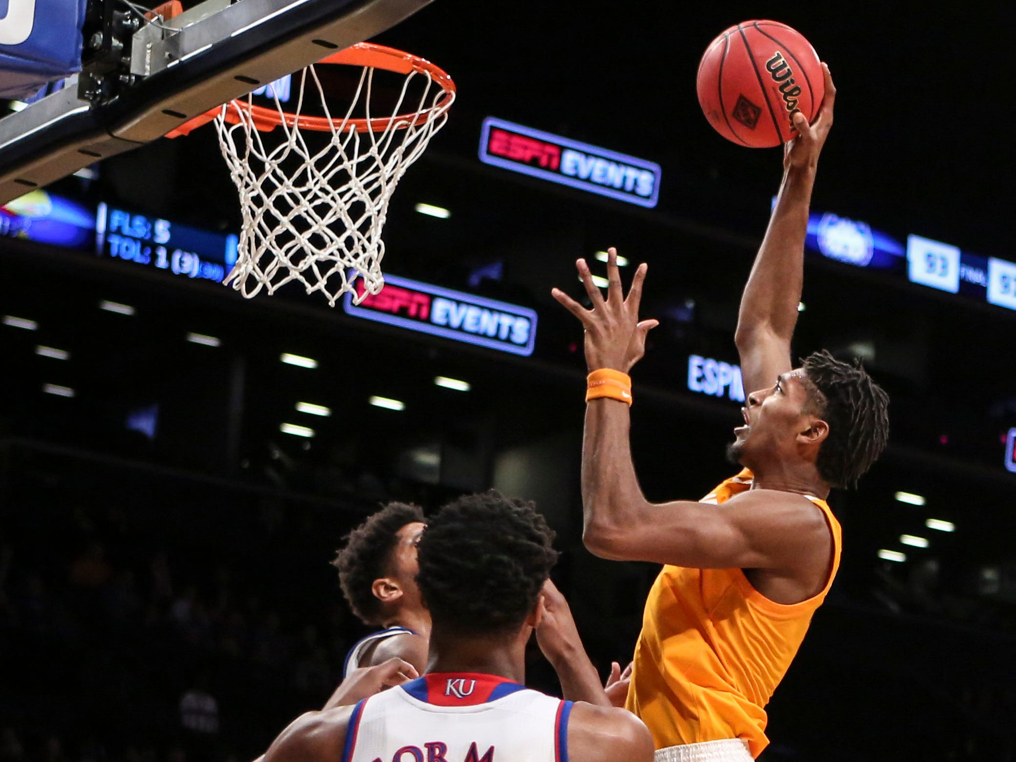 Nov 23, 2018; Brooklyn, NY, USA; Tennessee Volunteers forward Kyle Alexander (11) puts up a shot in the first half of the championship game of the NIT Season Tipoff against the Kansas Jayhawks at Barclays Center. Mandatory Credit: Wendell Cruz-USA TODAY Sports