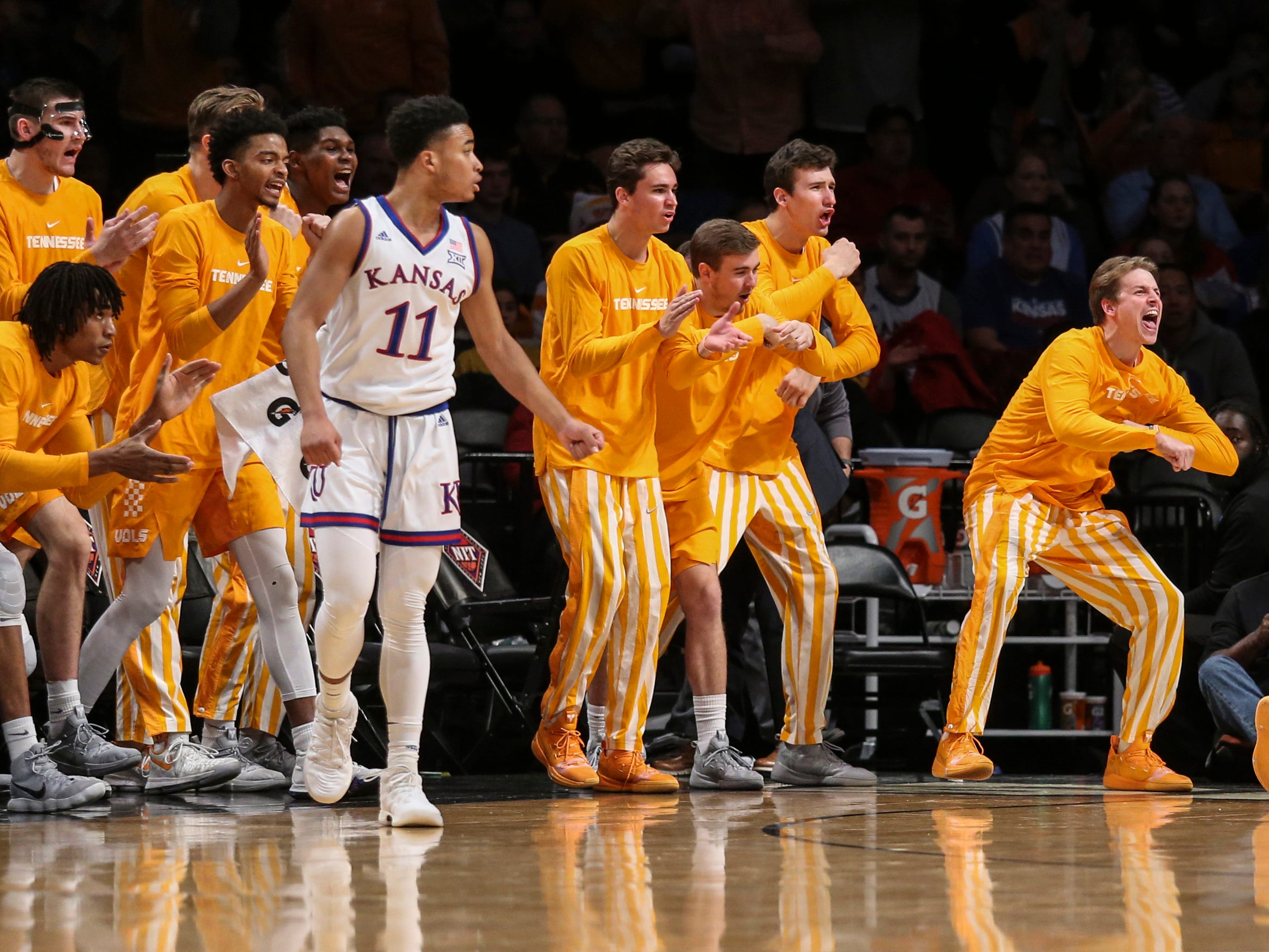 Nov 23, 2018; Brooklyn, NY, USA; The Tennessee Volunteers bench reacts to a call in the first half of championship game of the NIT Season Tipoff against the Kansas Jayhawks at Barclays Center. Mandatory Credit: Wendell Cruz-USA TODAY Sports