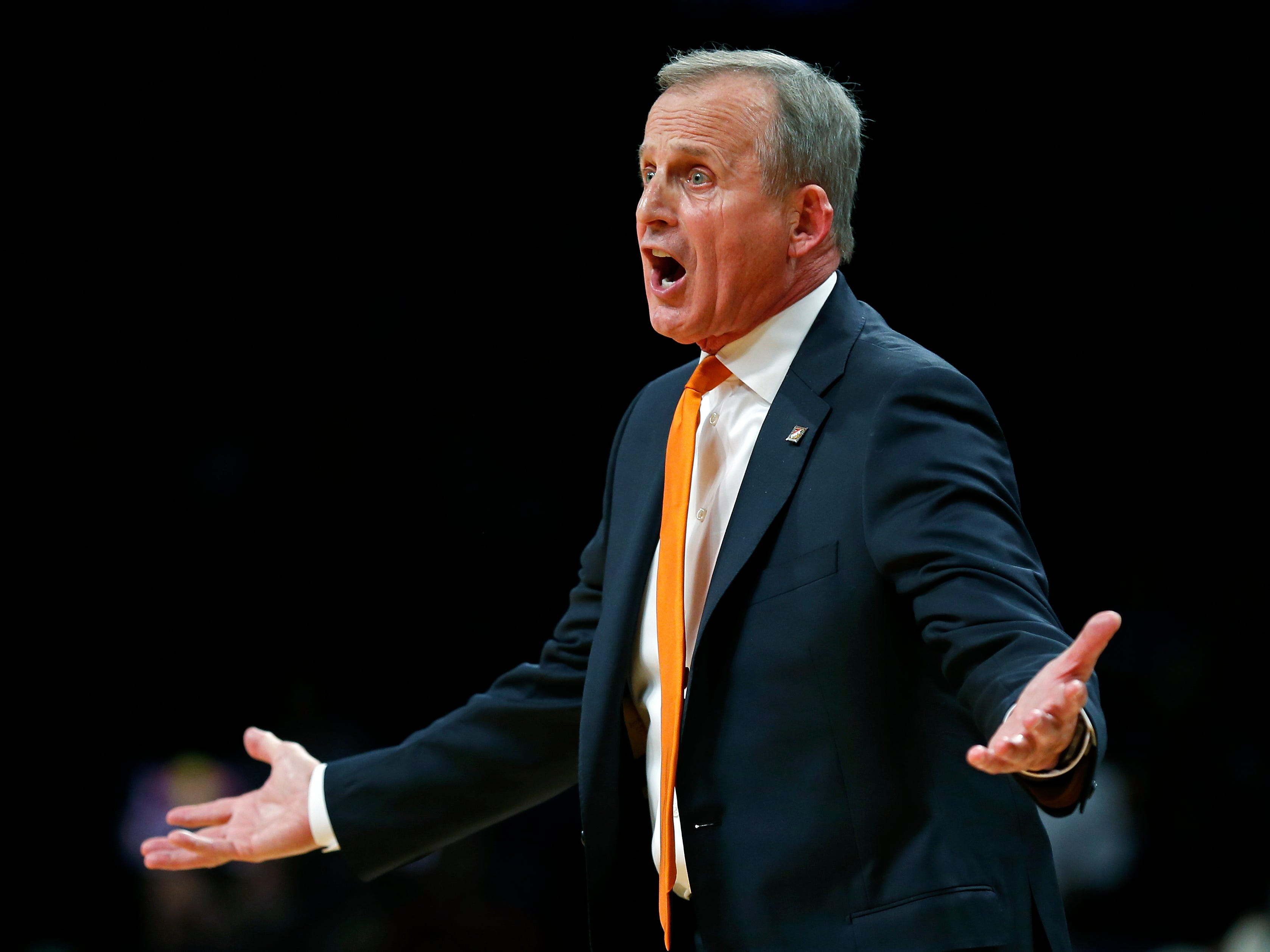 Tennessee coach Rick Barnes reacts to a call during overtime of the team's NCAA college basketball game against Tennessee in the NIT Season Tip-Off tournament Friday, Nov. 23, 2018, in New York. Kansas defeated Tennessee 87-81. (AP Photo/Adam Hunger)