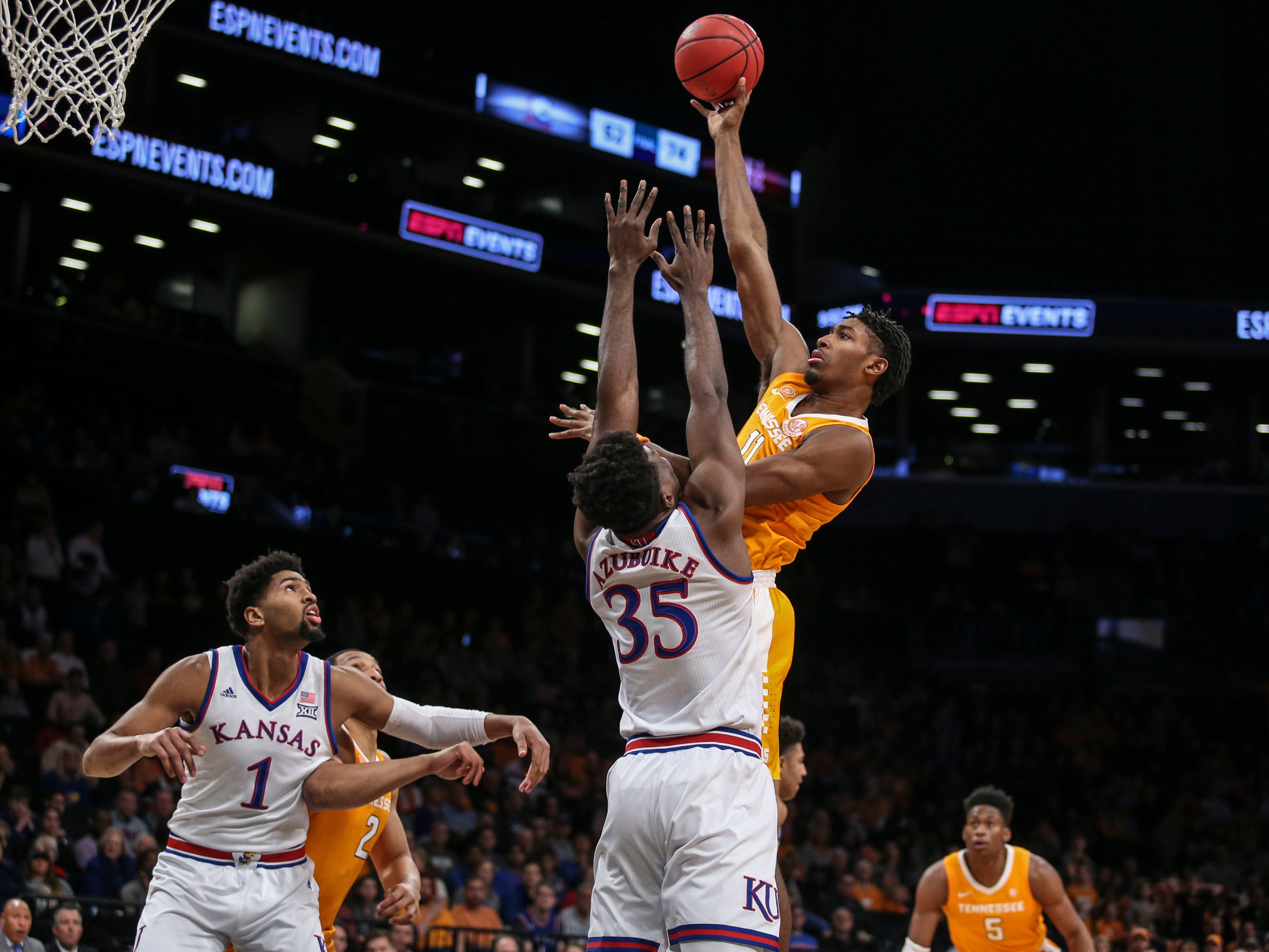 Nov 23, 2018; Brooklyn, NY, USA; Tennessee Volunteers forward Kyle Alexander (11) puts up a shot in the first half against the Kansas Jayhawks in the championship game of the NIT Season Tipoff at Barclays Center. Mandatory Credit: Wendell Cruz-USA TODAY Sports