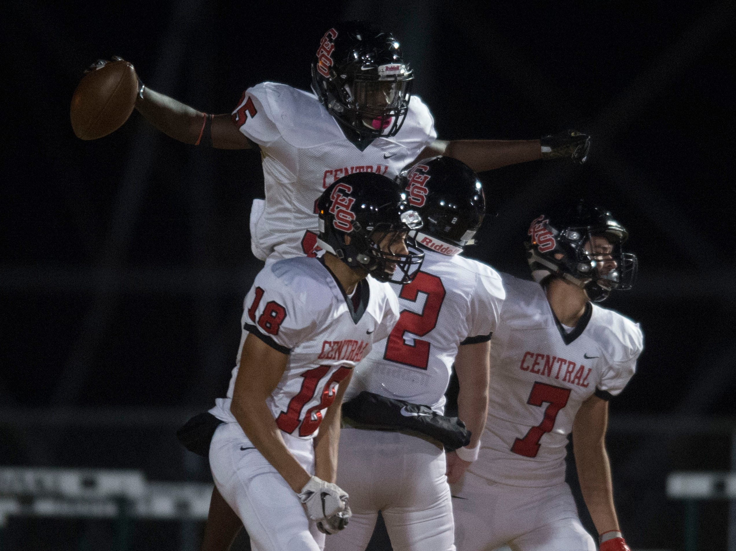 Central's Jason Merritts (35) celebrates after his touchdown, the first of the game, during a Class 5A semifinal game between Central at Catholic Friday, Nov. 23, 2018. Central defeated Catholic 24-19.