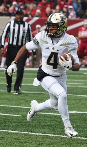 Purdue receiver Rondale Moore gets yardage Saturday in Bloomington against the Hoosiers.