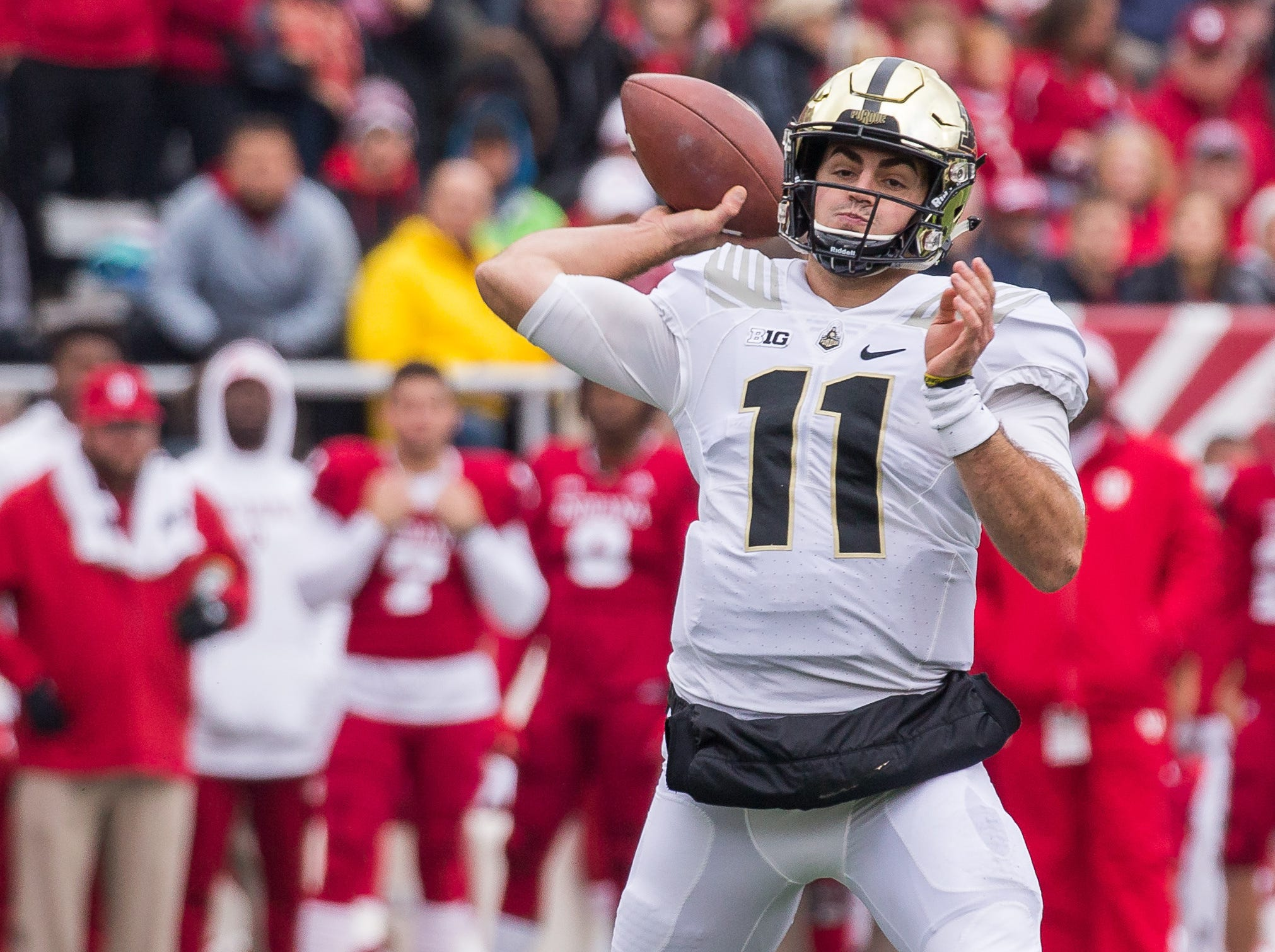 Nov 24, 2018; Bloomington, IN, USA; Purdue Boilermakers quarterback David Blough (11) throws the ball in the first quarter against the Indiana Hoosiers at Memorial Stadium. Mandatory Credit: Trevor Ruszkowski-USA TODAY Sports
