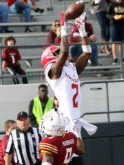 UL wide receiver JaMarcus Bradley leaps for a catch during the Cajuns' 31-28 win over ULM to clinch the Sun Belt West Division crown last season in Monroe. Bradley is among three UL players to be named to the Sun Belt Preseason All-Conference first team.