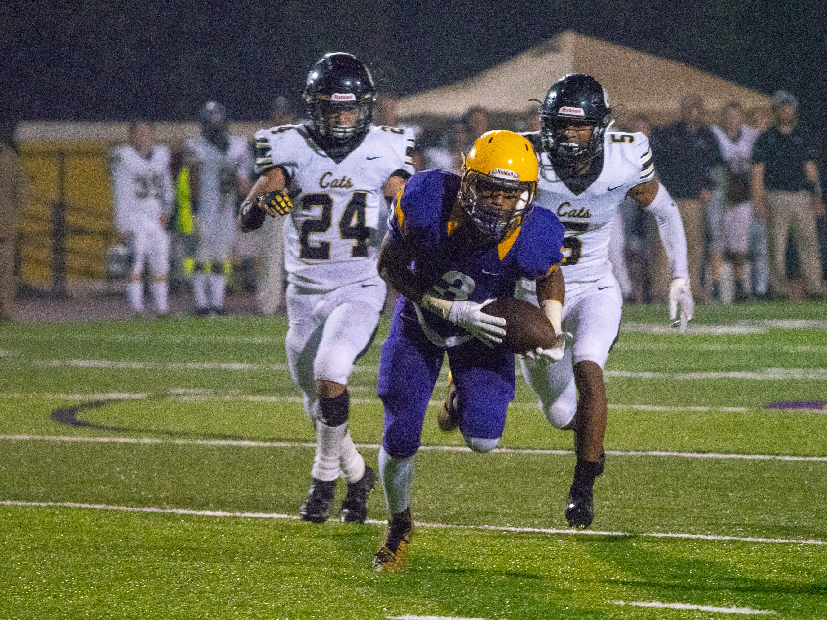 St. Martinville's Jamel Fontenette catches a pass downfield as the St. Martinville Tigers take on the Leesville Wampus Cats at St. Martinville High School on Nov. 23, 2018.