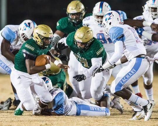 The going was tough for Acadiana's offense Friday after halfback Larryll Greene missed most of the game with a knee injury, just one week after losing quarterback Keontae Williams to a concussion.