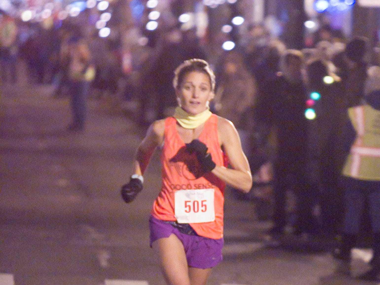 Sarah Boyle was the first woman finisher in the Fantasy 5k Friday, Nov. 23, 2018.