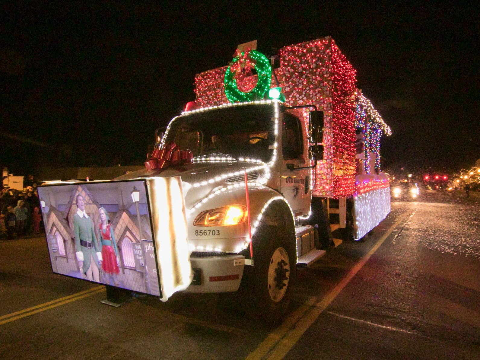 """A float by DTE Energy featuring a flat-screen monitor which plays the movie """"Elf"""" earned the Cobb-Hall award in the Fantasy of Lights parade Friday, Nov. 23, 2018."""