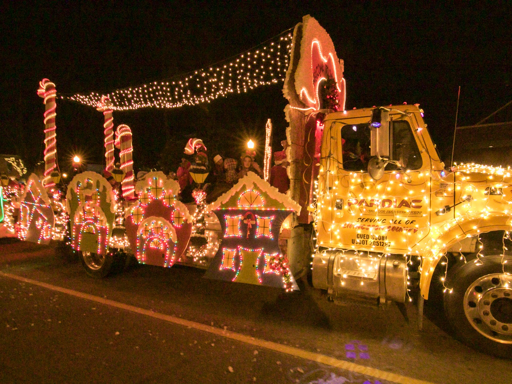 The float by Pardiac Towing won the Children's Delight award in the Fantasy of Lights parade Friday, Nov. 23, 2018.