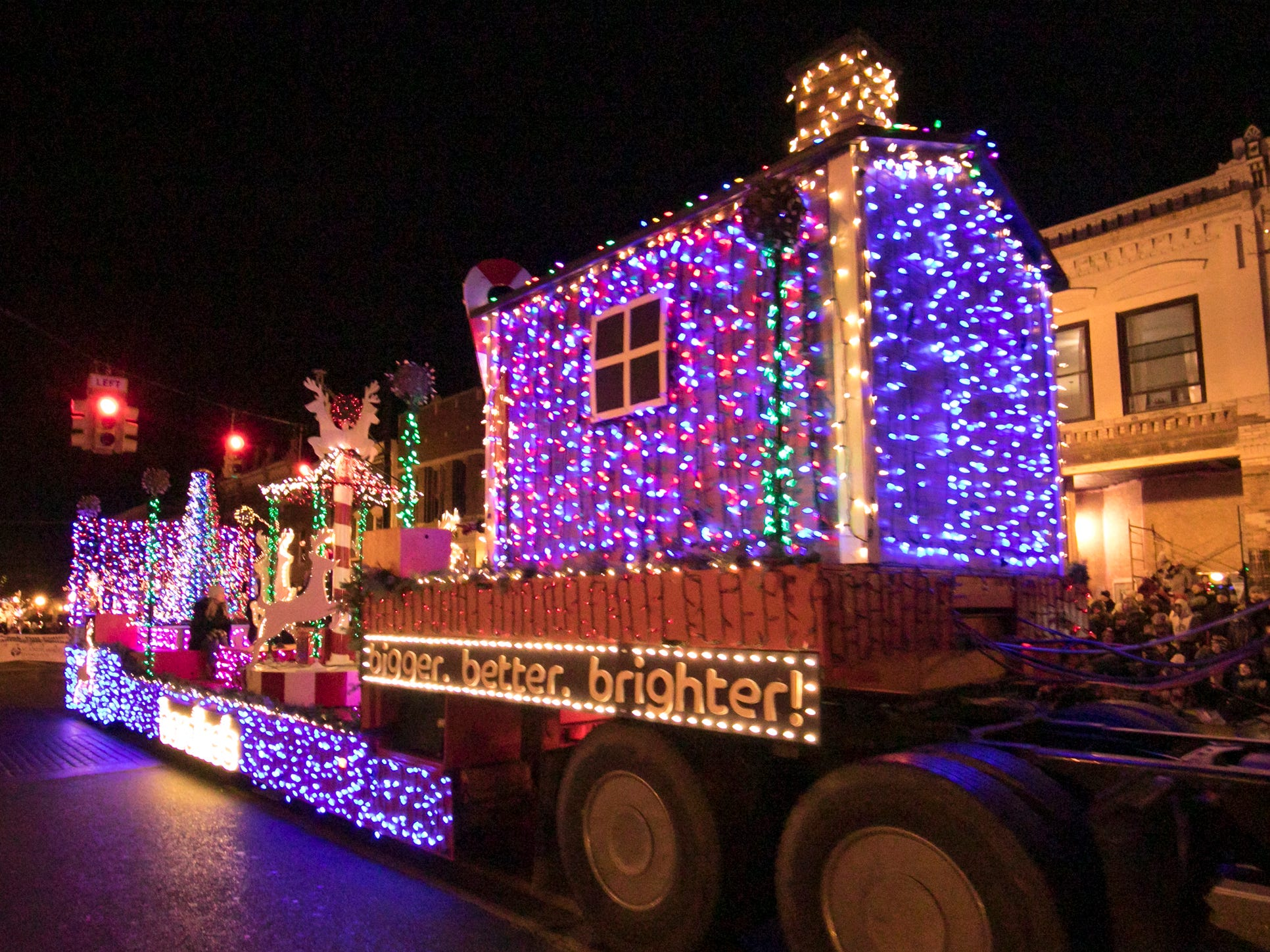 The Bordines float features a myriad of colored LED lights in the Fantasy of Lights parade Friday, Nov. 23, 2018.