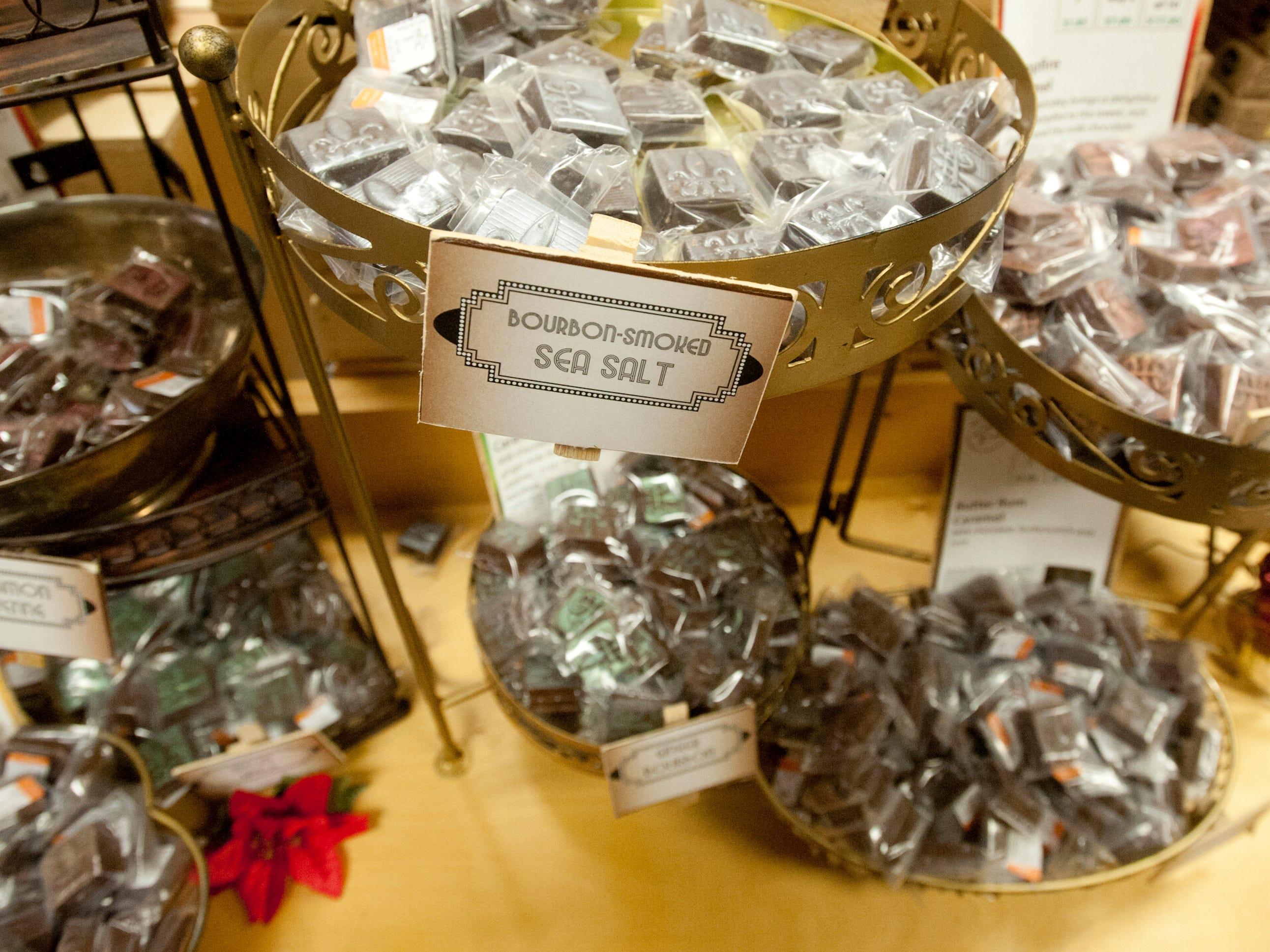 Some of Art Edibles' various flavored non-alcoholic bourbon truffles.  24 November 2018