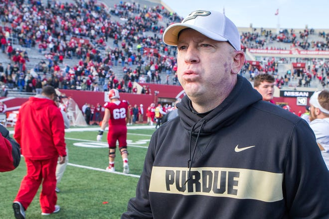 Nov 24, 2018; Bloomington, IN, USA; Purdue Boilermakers head coach Jeff Brohm reacts after a game against the Indiana Hoosiers at Memorial Stadium. Mandatory Credit: Trevor Ruszkowski-USA TODAY Sports