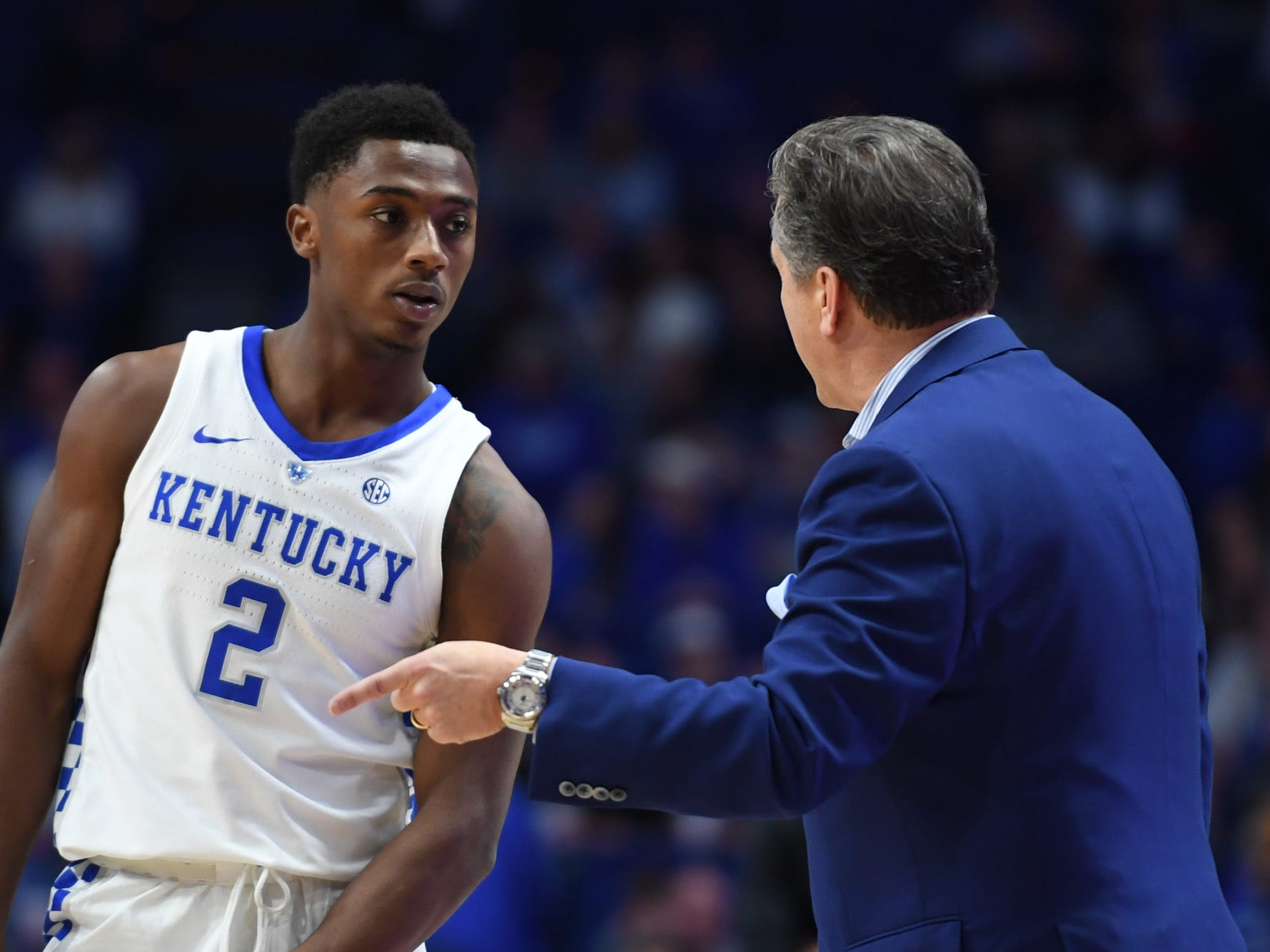 UK G Ashton Hagans listens to head coach John Calipari during the University of Kentucky men's basketball game against Tennessee State at Rupp Arena in Lexington, Kentucky, on Friday, Nov. 23, 2018.