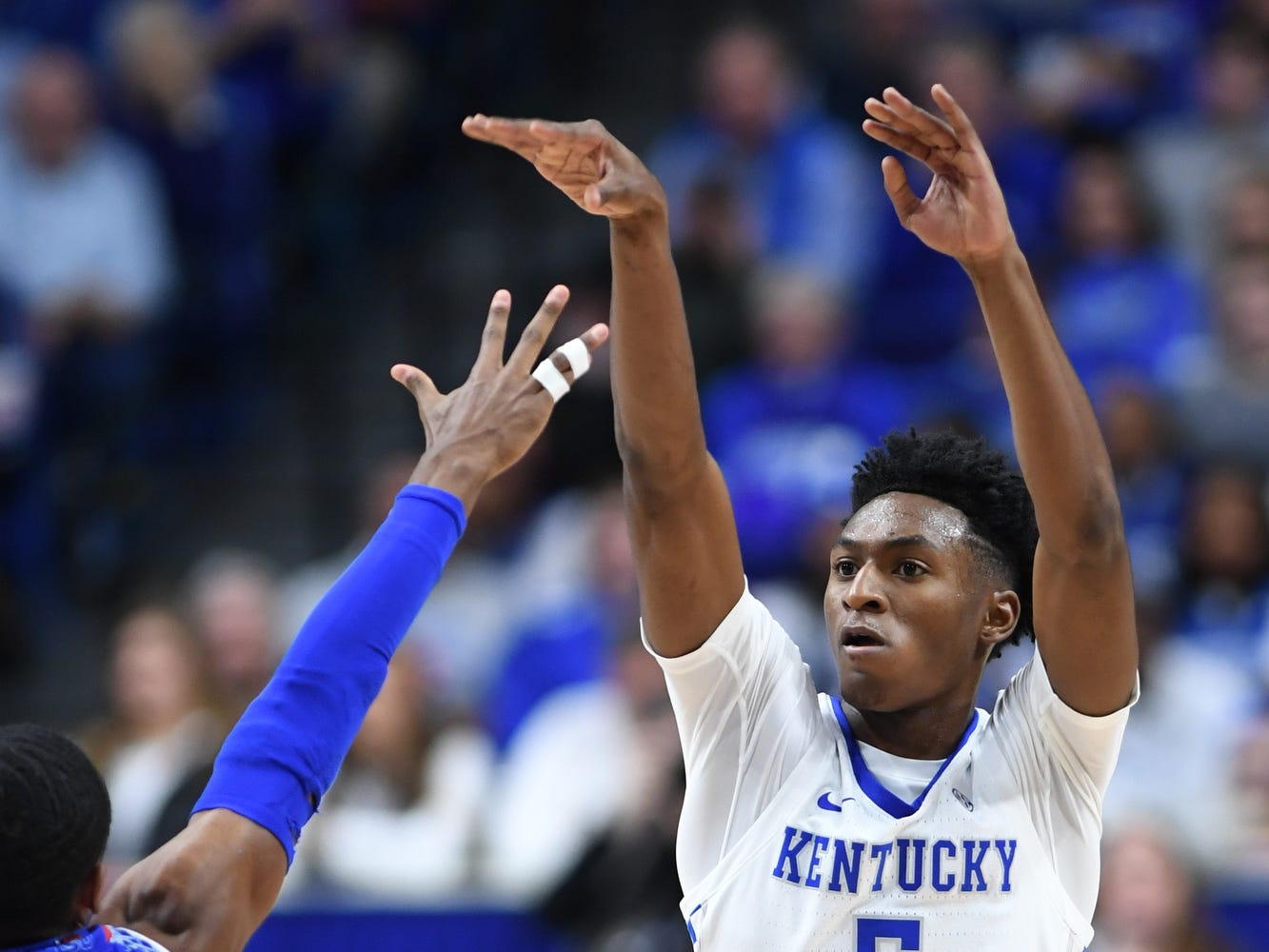 UK guard Immanuel Quickley shoots during the University of Kentucky men's basketball game against Tennessee State at Rupp Arena in Lexington, Kentucky on Friday, Nov. 23, 2018.