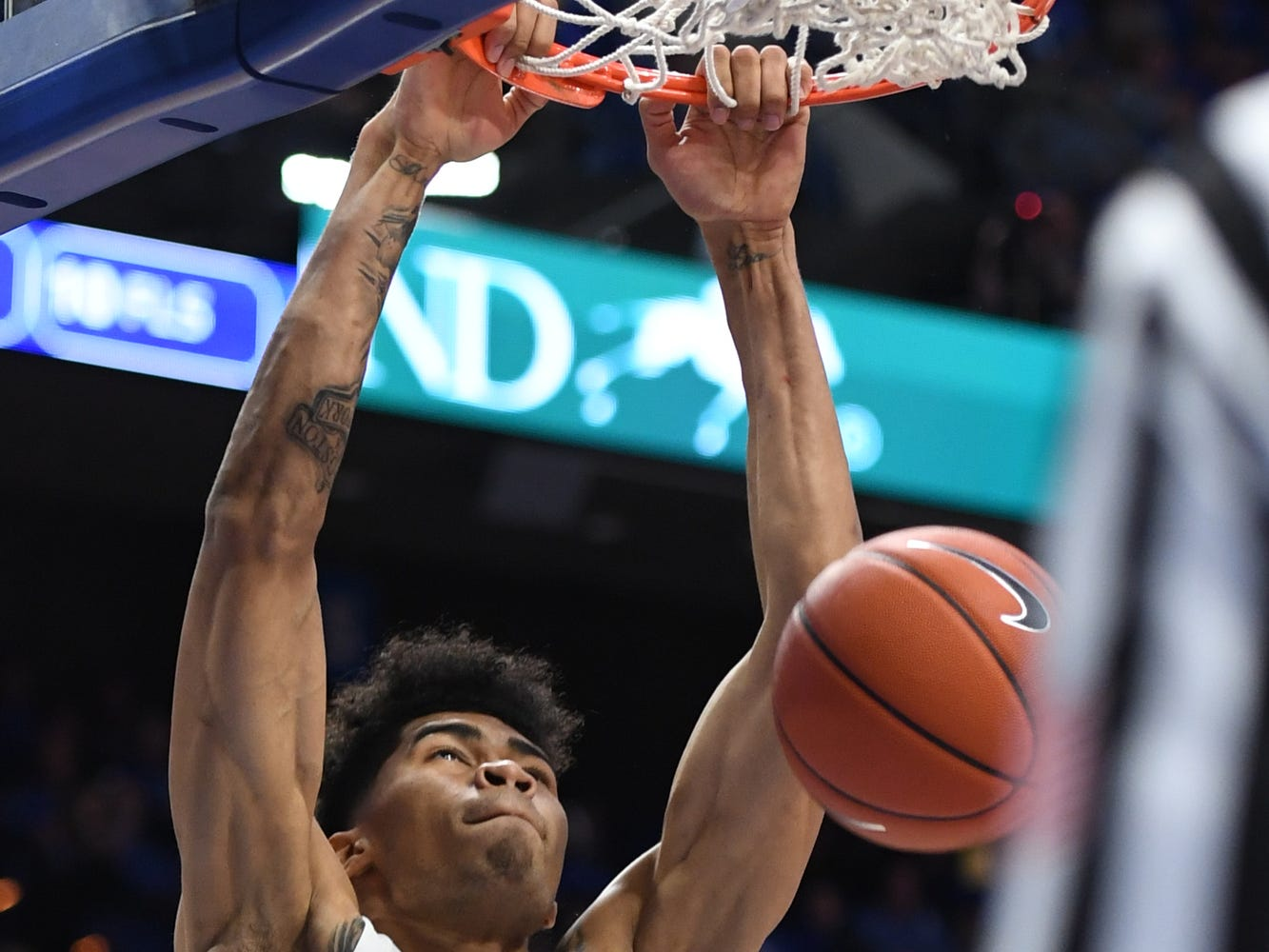 UK F Nick Richards dunks during the University of Kentucky men's basketball game against Tennessee State at Rupp Arena in Lexington, Kentucky, on Friday, Nov. 23, 2018.