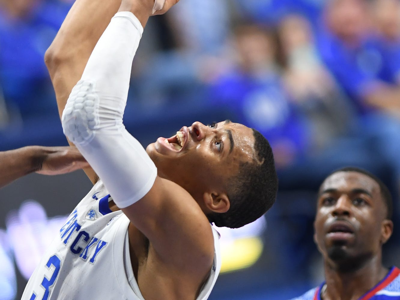 UK G Keldon Johnson goes up with the ball during the University of Kentucky men's basketball game against Tennessee State at Rupp Arena in Lexington, Kentucky, on Friday, Nov. 23, 2018.