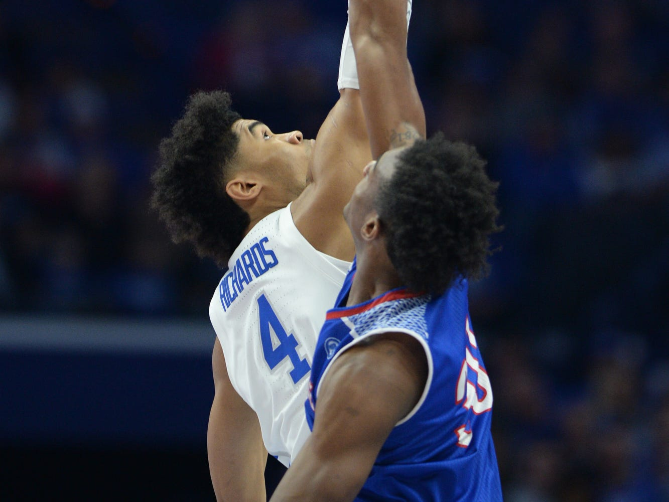 UK forward Nick Richards win the tip off to begin the University of Kentucky men's basketball game against Tennessee State at Rupp Arena in Lexington, Kentucky, on Friday, Nov. 23, 2018.