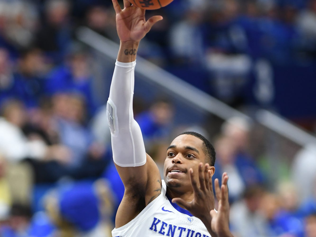 UK forward PJ Washington puts up the ball during the University of Kentucky men's basketball game against Tennessee State at Rupp Arena in Lexington, Kentucky on Friday, Nov. 23, 2018.