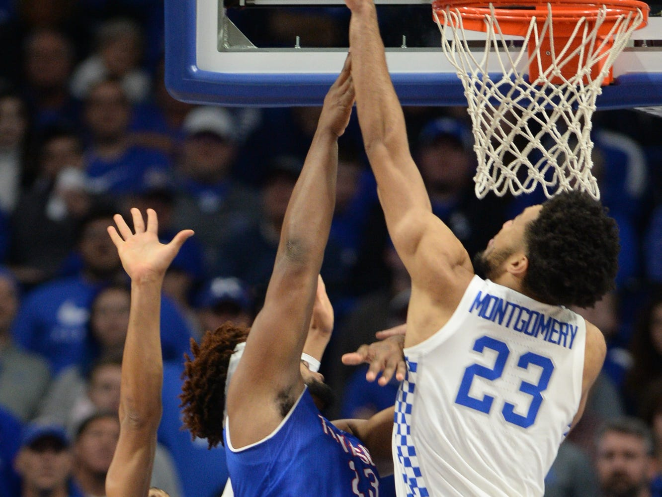 UK forward EJ Montgomery blocks the ball during the University of Kentucky men's basketball game against Tennessee State at Rupp Arena in Lexington, Kentucky, on Friday, Nov. 23, 2018.