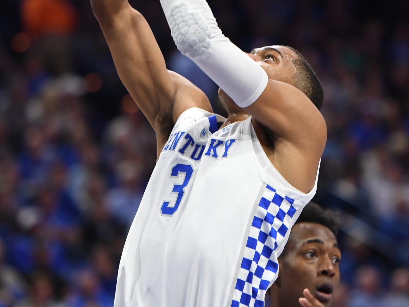 UK G Keldon Johnson lays up the ball during the University of Kentucky men's basketball game against Tennessee State at Rupp Arena in Lexington, Kentucky, on Friday, Nov. 23, 2018.