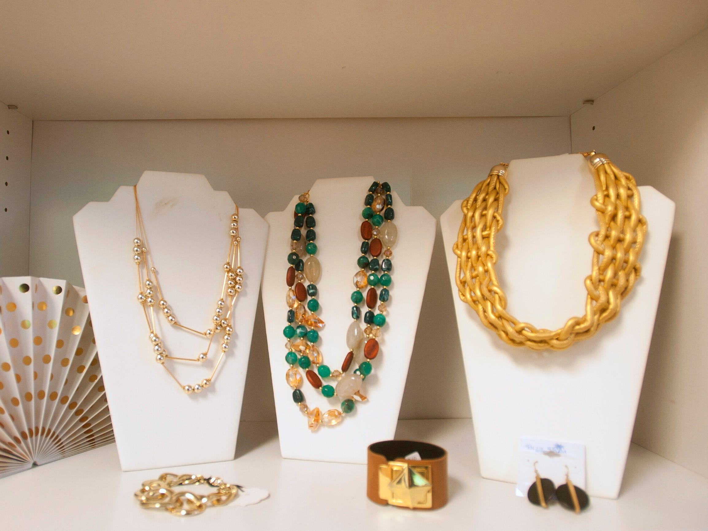 Some of the necklaces, bracelets and earrings at Blue Palm Access, a women's boutique at 2001 W. Broadway, as part of Louisville's Small Business Saturday. 24 November 2018