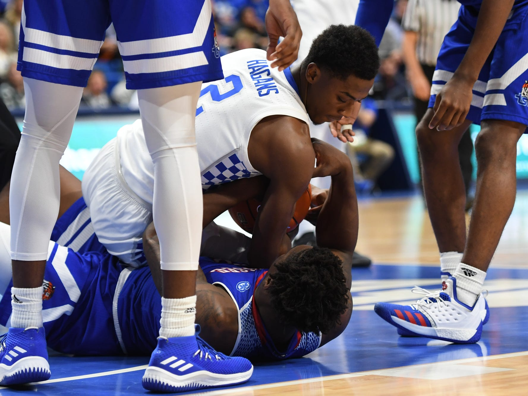 UK G Ashton Hagans fights for the ball during the University of Kentucky men's basketball game against Tennessee State at Rupp Arena in Lexington, Kentucky, on Friday, Nov. 23, 2018.