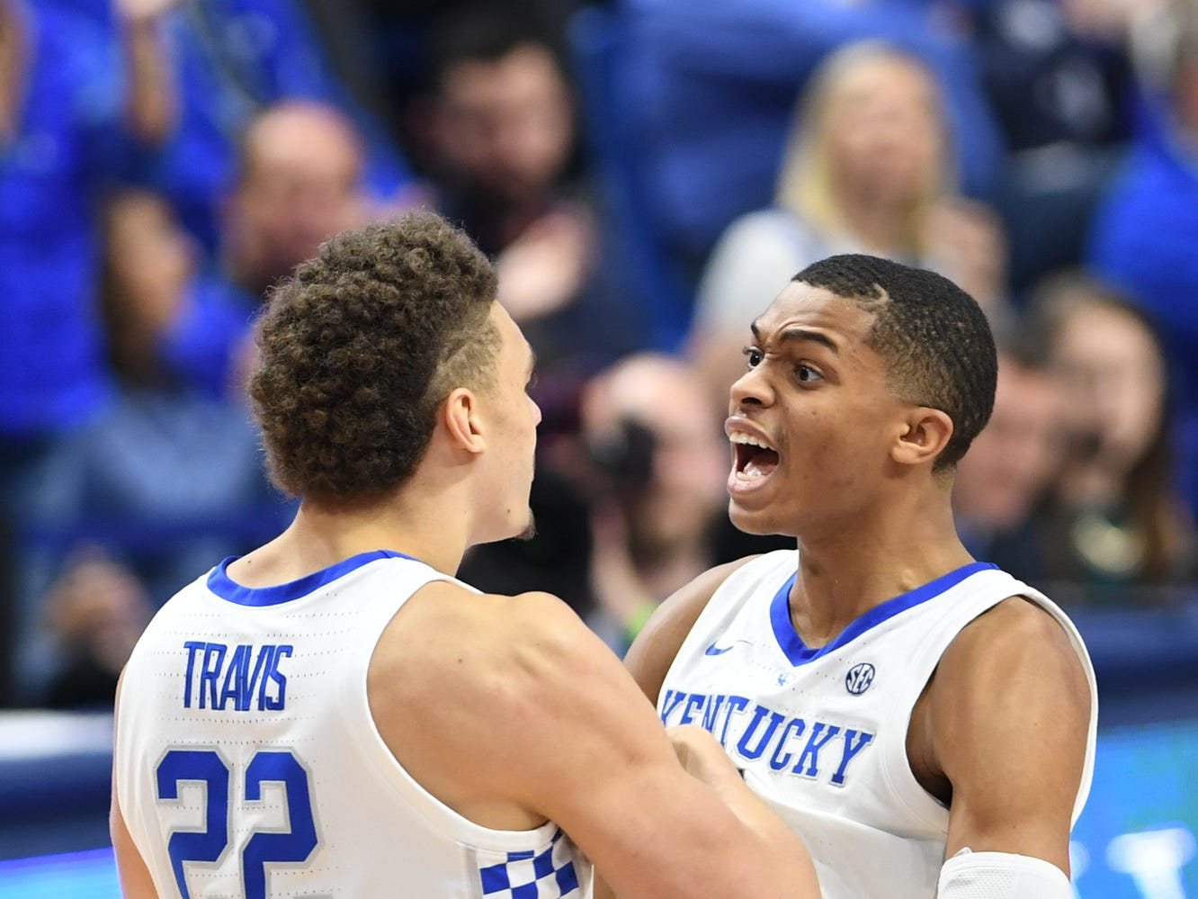 UK forward Reid Travis and guard Keldon Johnson celebrate during the University of Kentucky men's basketball game against Tennessee State at Rupp Arena in Lexington, Kentucky, on Friday, Nov. 23, 2018.