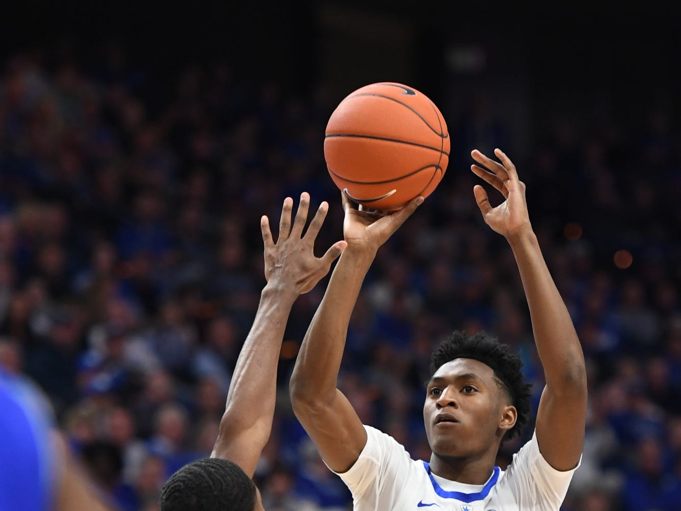 UK G Immanuel Quickley shoots the ball during the University of Kentucky men's basketball game against Tennessee State at Rupp Arena in Lexington, Kentucky, on Friday, Nov. 23, 2018.