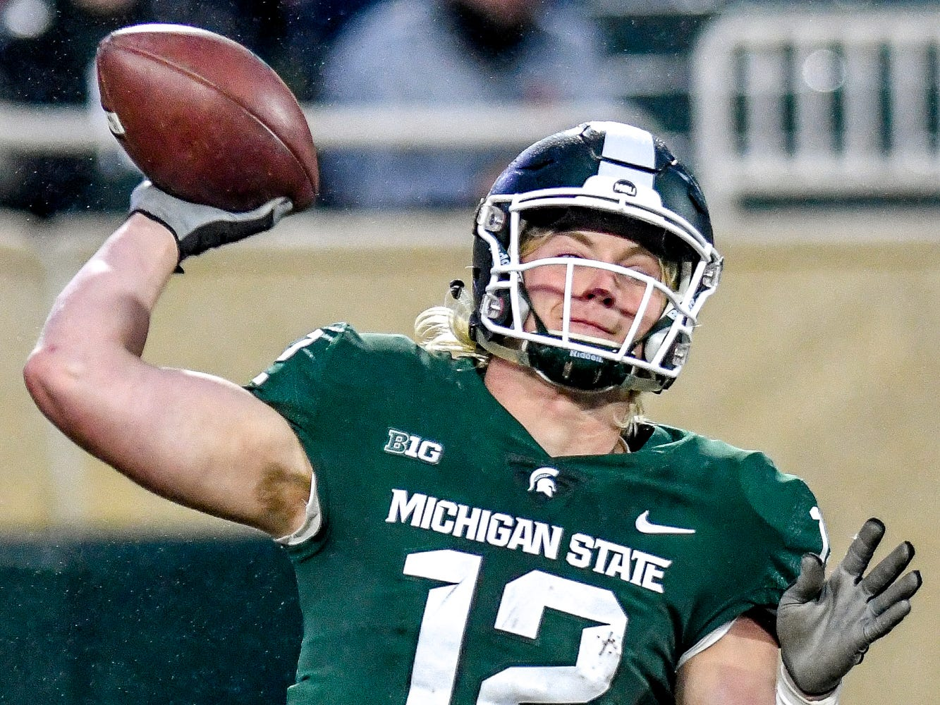 Michigan State's Rocky Lombardi throws a pass during the first quarter on Saturday, Nov. 24, 2018, at Spartan Stadium in East Lansing.