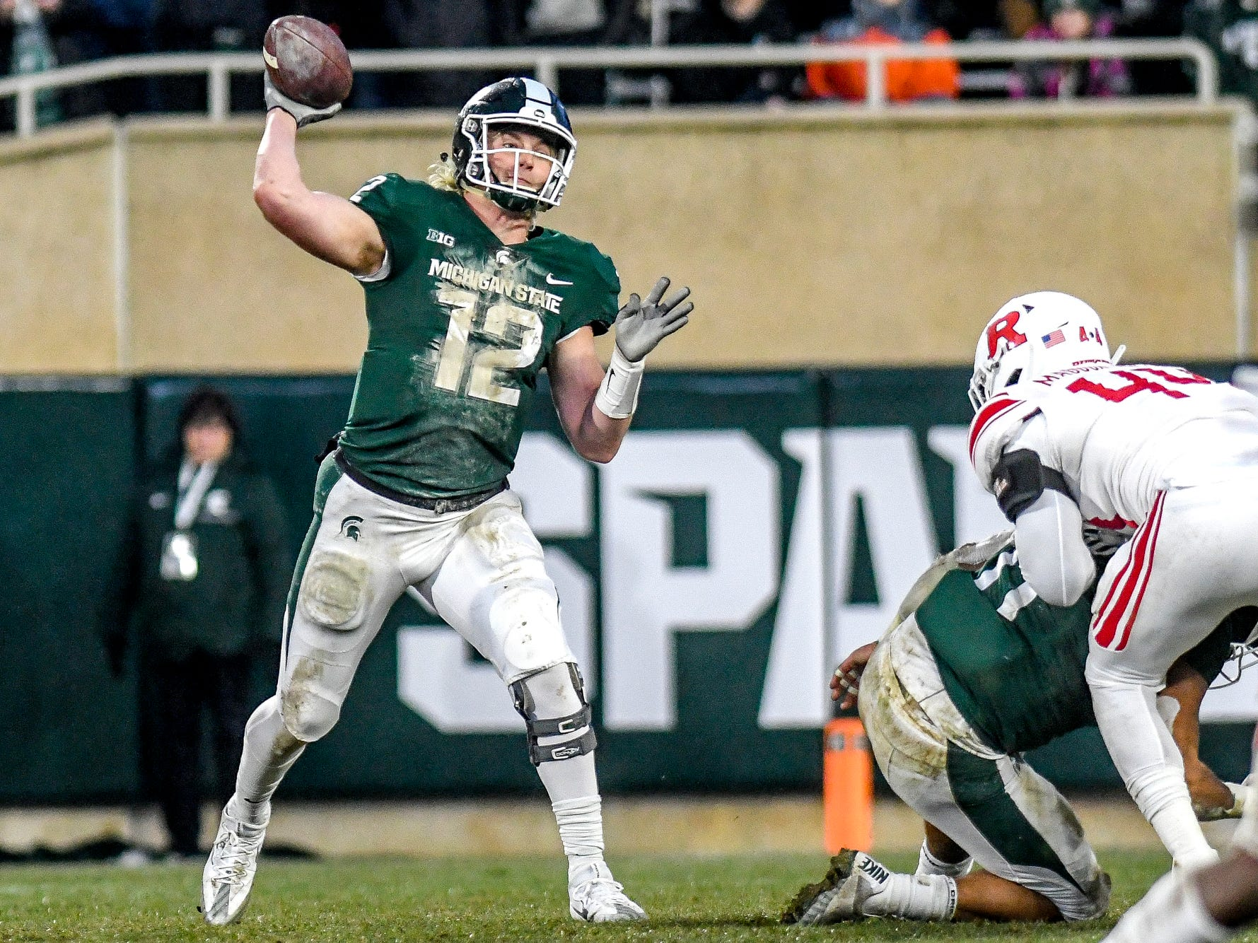 Michigan State's Rocky Lombardi throws a pass during the second quarter on Saturday, Nov. 24, 2018, at Spartan Stadium in East Lansing.