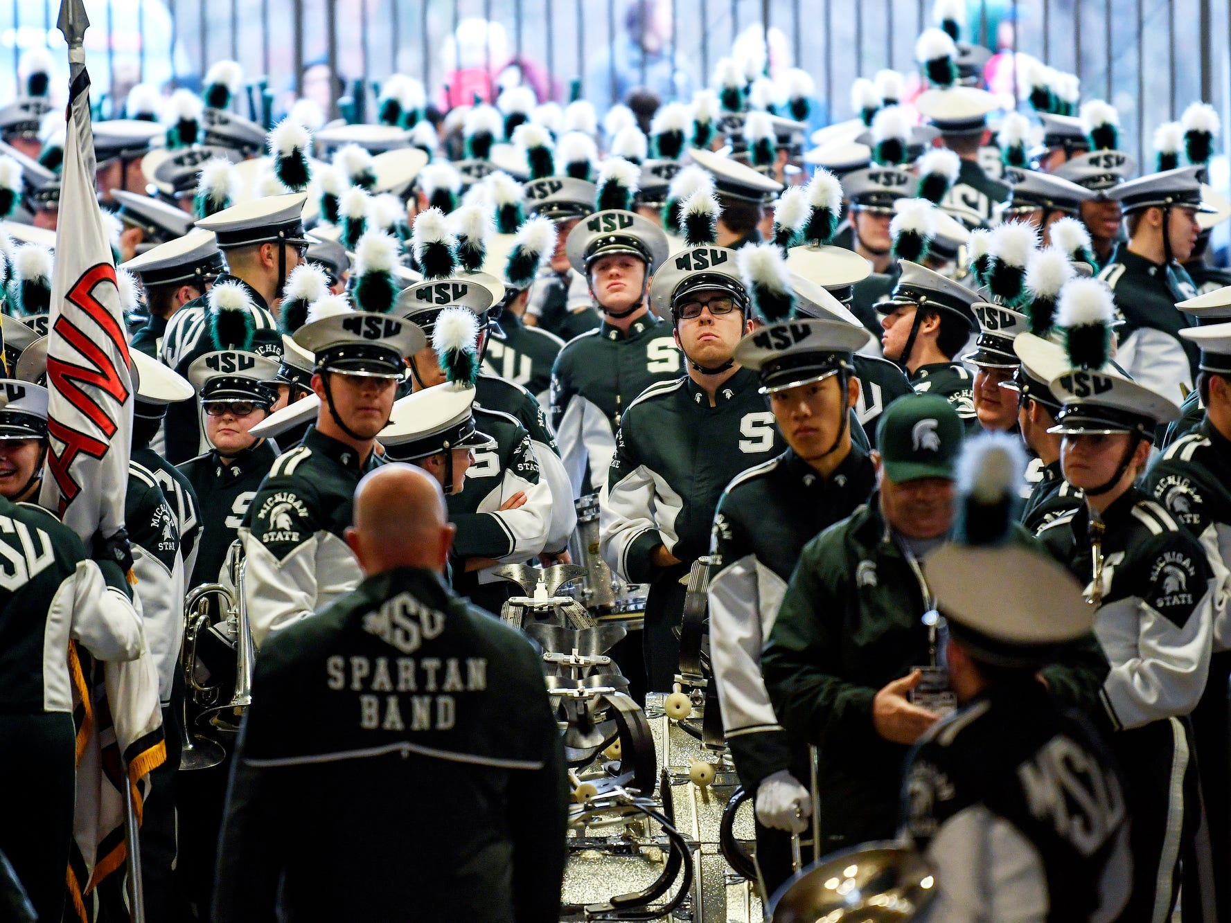 Michigan State Spartan Band prepares in the north side tunnel before the game against Rutgers on Saturday, Nov. 24, 2018, at Spartan Stadium in East Lansing.