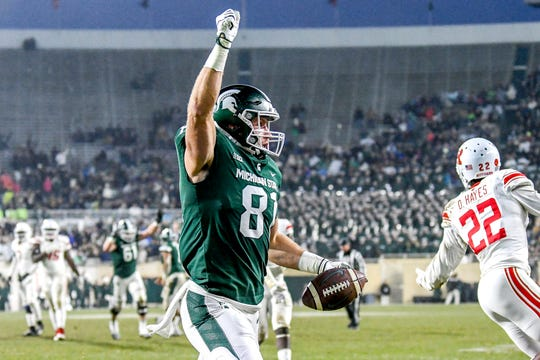 Michigan State's Matt Sokol catches a touchdown pass against Rutgers during the second quarter on Saturday, Nov. 24, 2018, at Spartan Stadium in East Lansing.