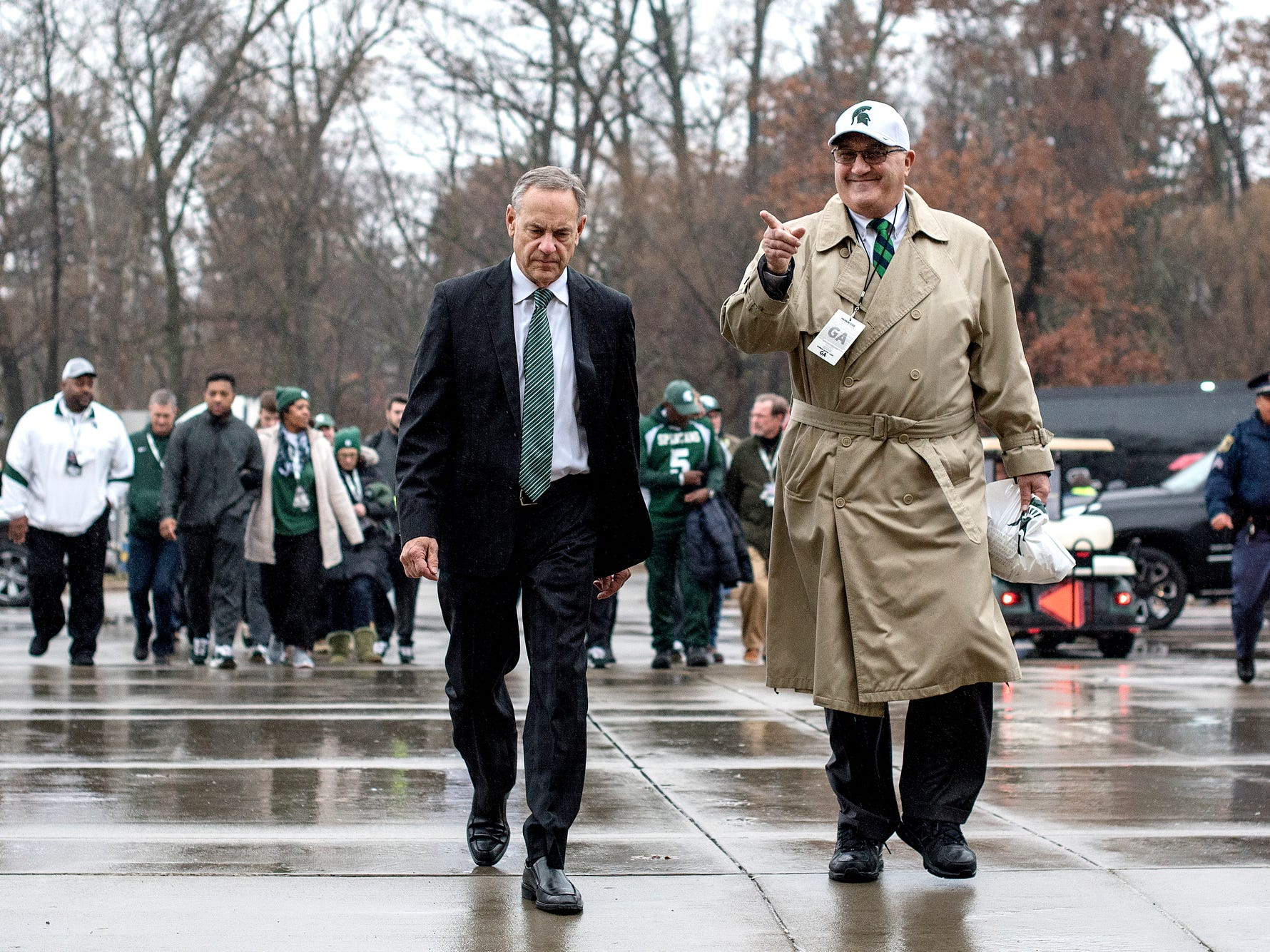 Michigan State's head coach Mark Dantonio, left, and Deputy Athletics Director Greg Ianni walk into Spartan Stadium before the game against Rutgers on Saturday, Nov. 24, 2018, at Spartan Stadium in East Lansing.