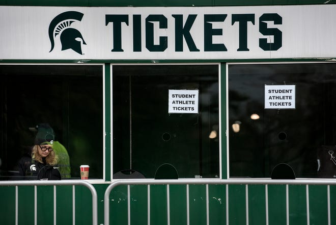 A ticket booth outside Spartan Stadium in East Lansing.