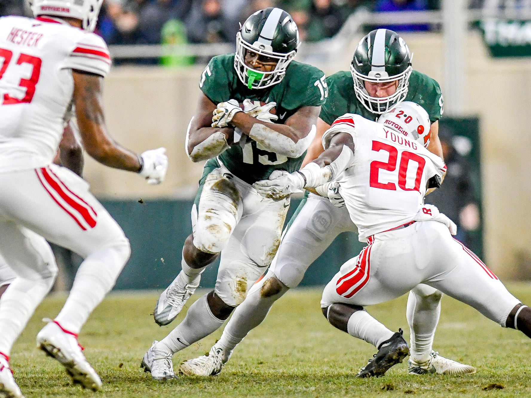 Michigan State's LaÕDarius Jefferson runs for a gain during the first quarter on Saturday, Nov. 24, 2018, at Spartan Stadium in East Lansing.