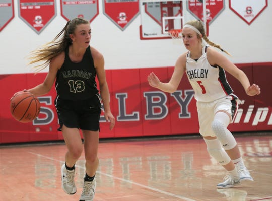 Madison's Leah Boggs dribbles the ball down the court while playing at Shelby on Friday night.