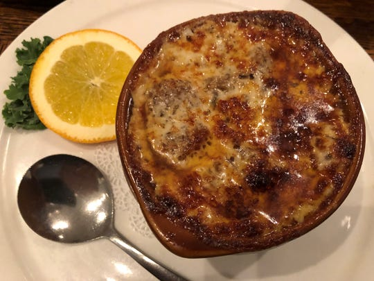 Baked French onion soup from Kretch's, Marco Island.