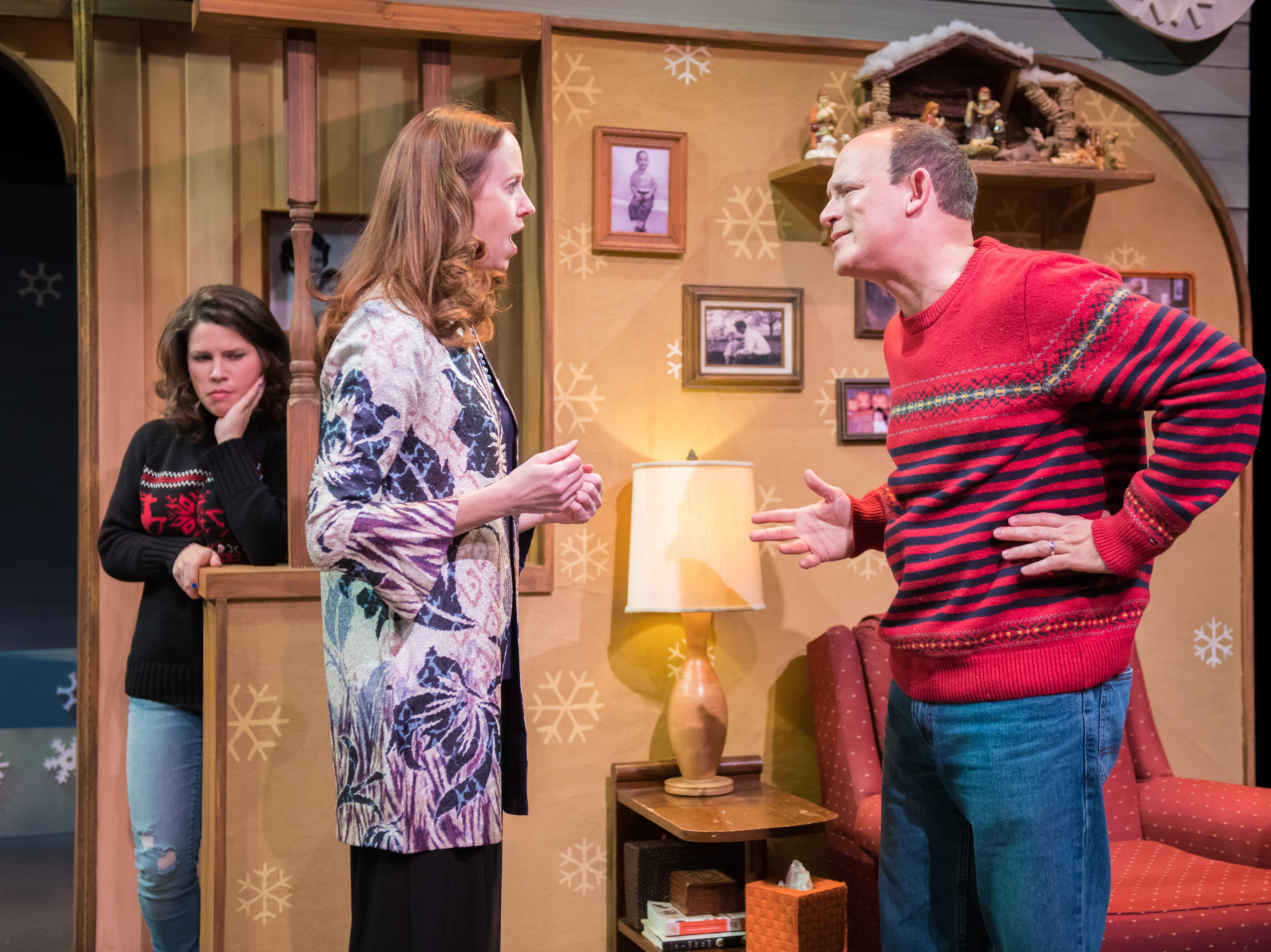 "Sara Zientek (left) observes a conversation between Laura Gray and Tom Klubertanz in ""Christmas in Babylon,"" performed by Milwaukee Chamber Theatre."