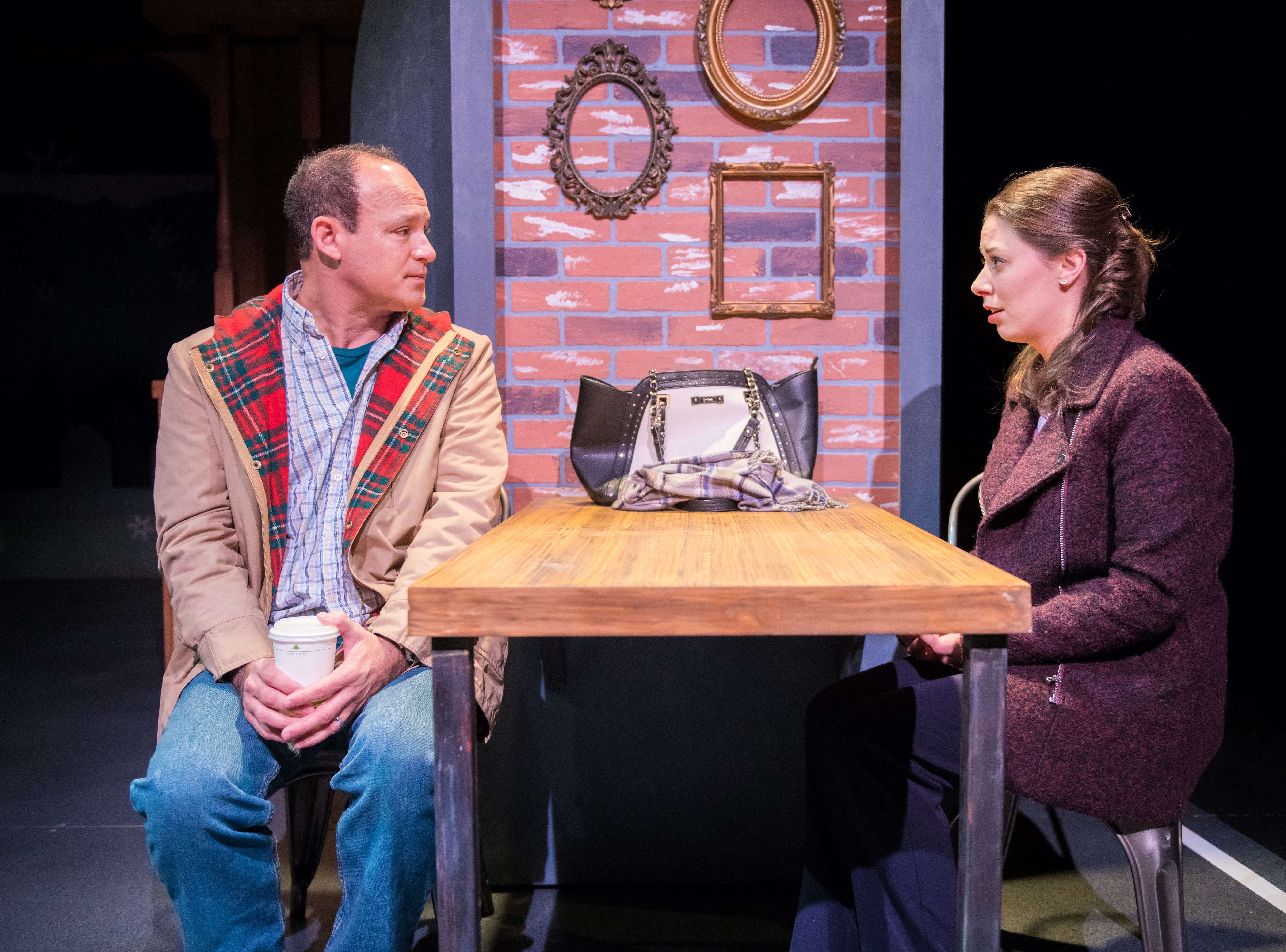 "Tom Klubertanz meets with Eva Nimmer in ""Christmas in Babylon,"" performed by Milwaukee Chamber Theatre."