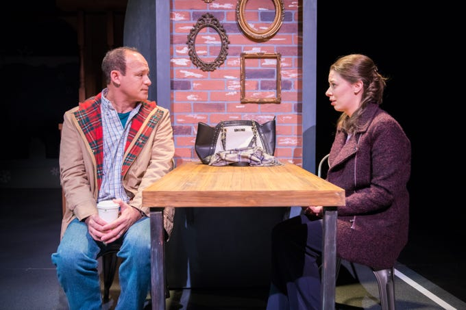 """Tom Klubertanz meets with Eva Nimmer in """"Christmas in Babylon,"""" performed by Milwaukee Chamber Theatre."""