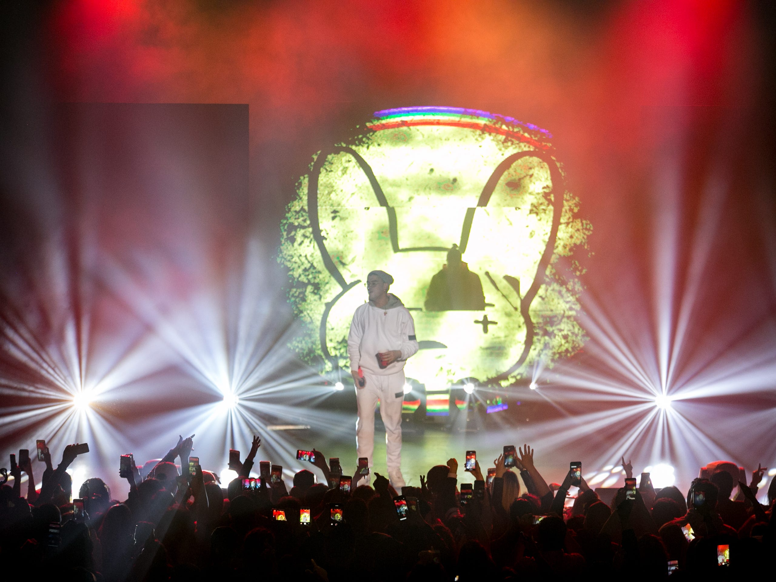 Bad Bunny performs at the Rave's Eagles Ballroom in Milwaukee on Nov. 23, 2018.