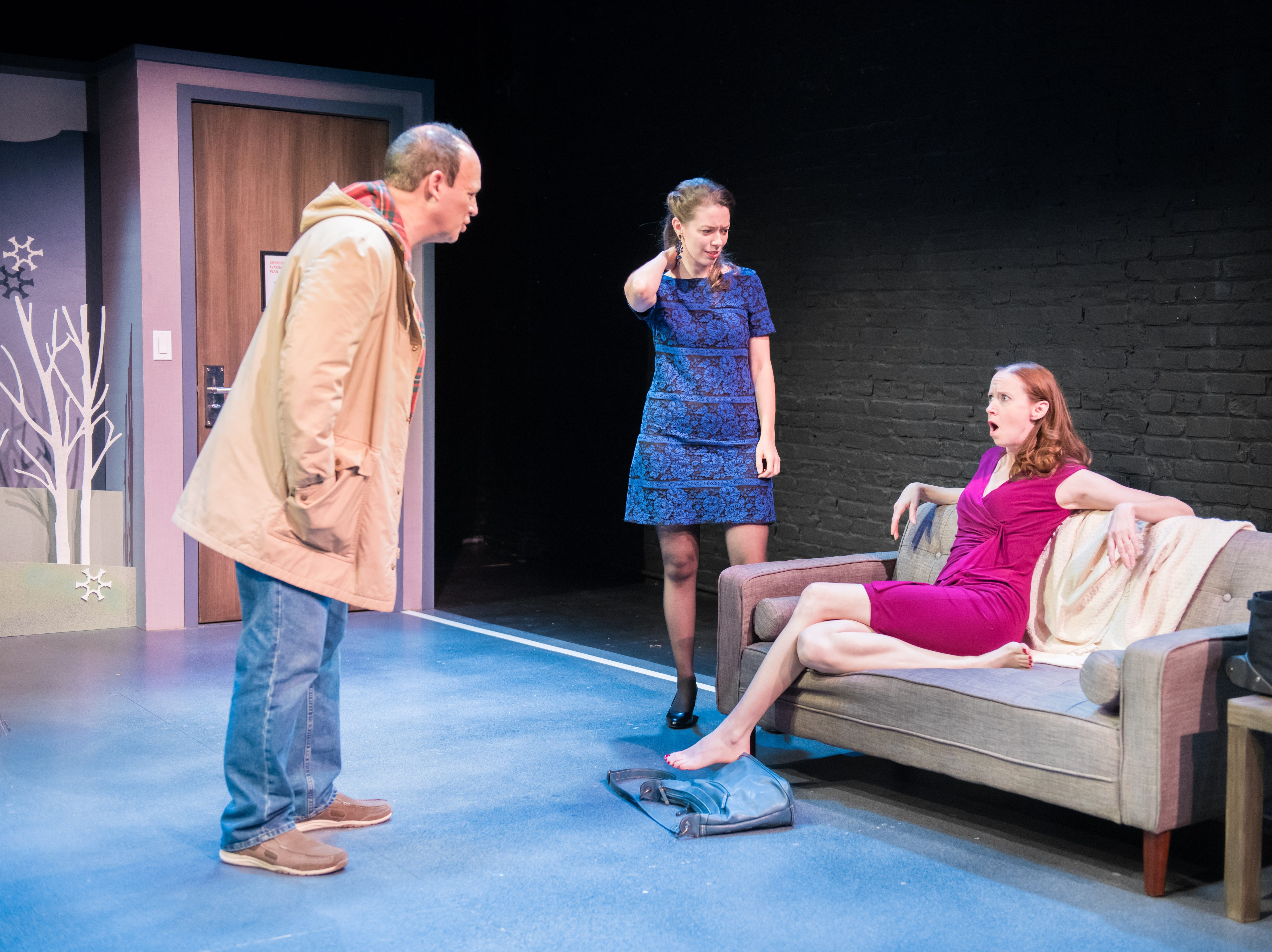 """Tom Klubertanz, Eva Nimmer (center) and Laura Gray perform in """"Christmas in Babylon,"""" written by James DeVita and presented by Milwaukee Chamber Theatre."""