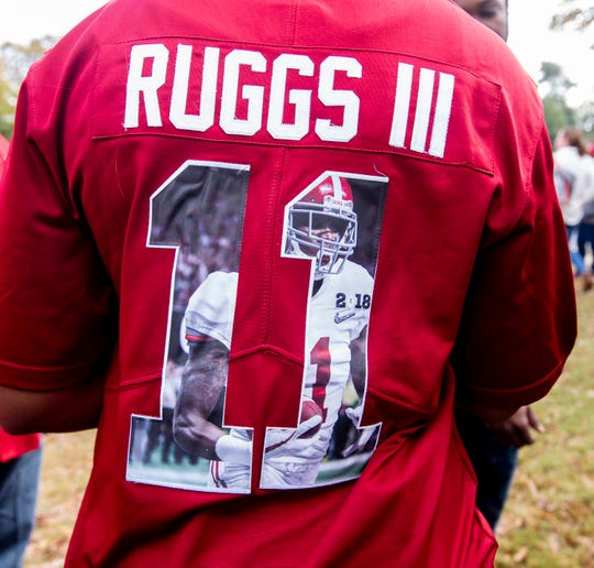 The Ruggs family and the Wilson family tailgate before the Iron Bowl in Tuscaloosa, Ala., on Saturday November 24, 2018.