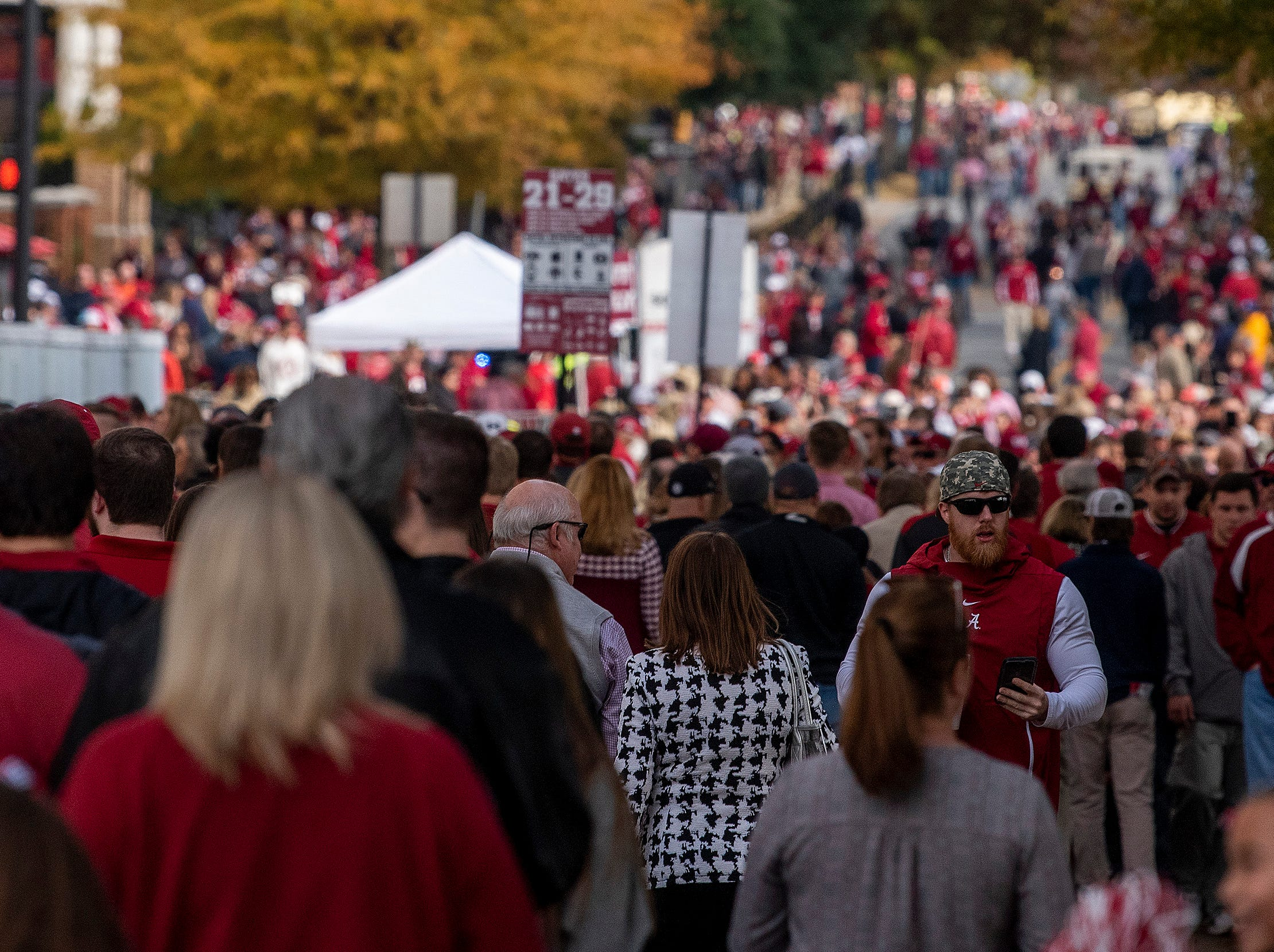 Fans flow into Bryant-Denny Stadium before the Iron Bowl in Tuscaloosa, Ala., on Saturday November 24, 2018.